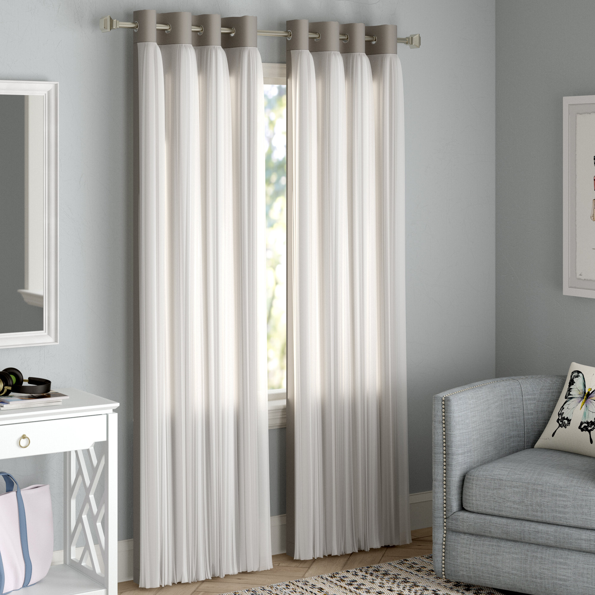 Brockham Solid Blackout Thermal Grommet Curtain Panels Regarding Widely Used Grommet Curtain Panels (View 7 of 20)