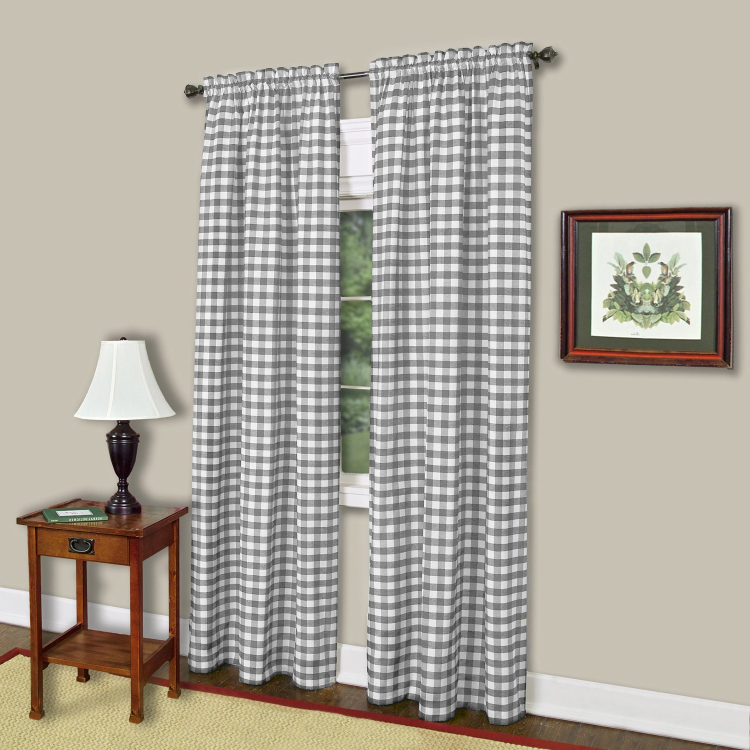 Buffalo Check Grey Cotton Blend Window Curtain Panel With Most Up To Date Grainger Buffalo Check Blackout Window Curtains (View 10 of 20)