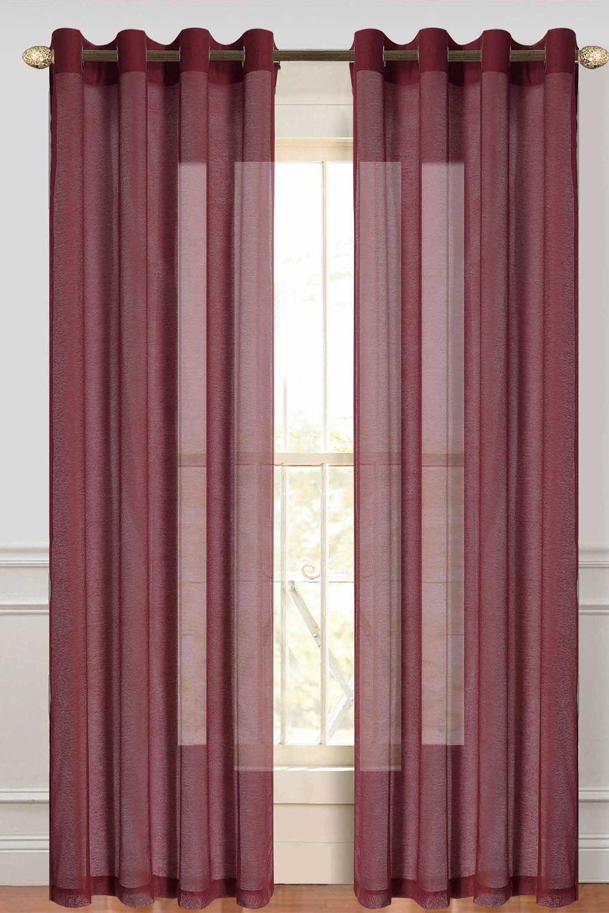 Burgundy Malibu Sheer Curtain – Set Of (View 15 of 20)