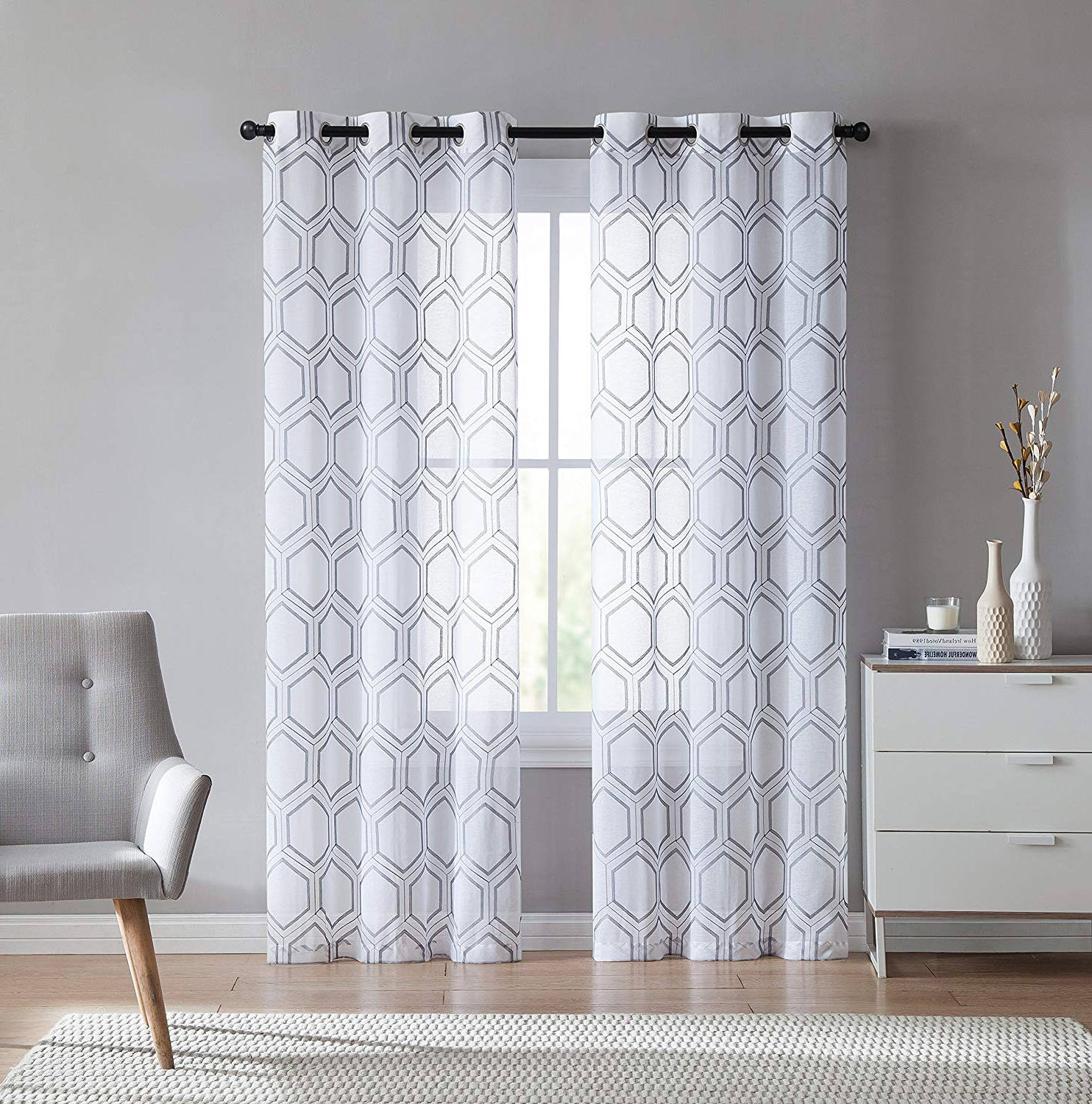 Caldwell Curtain Panel Pairs With Regard To Widely Used Amazon: Vcny Home Empire Window Curtains Panel Pair (View 6 of 20)