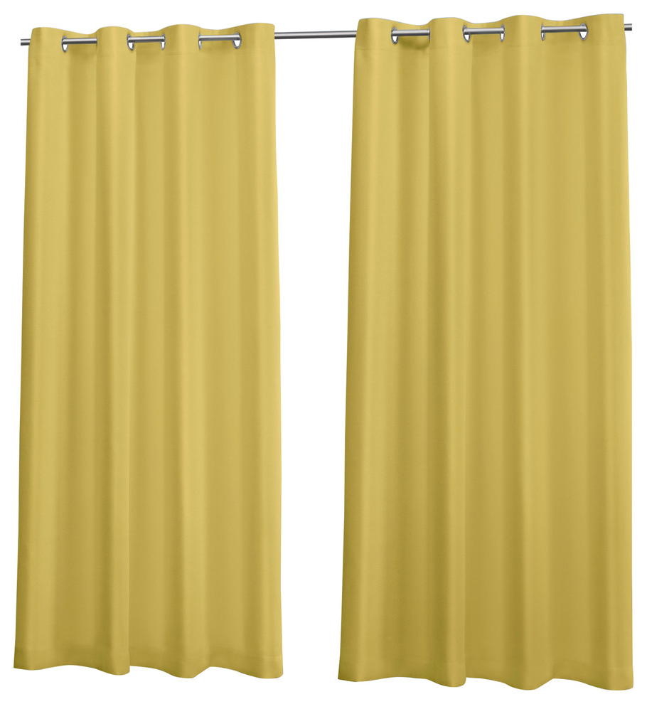 """Canvas Indoor/outdoor Grommet Top Curtain Panels, Set Of 2, Butter, 54""""x108"""" With Regard To 2021 Delano Indoor/outdoor Grommet Top Curtain Panel Pairs (View 11 of 20)"""