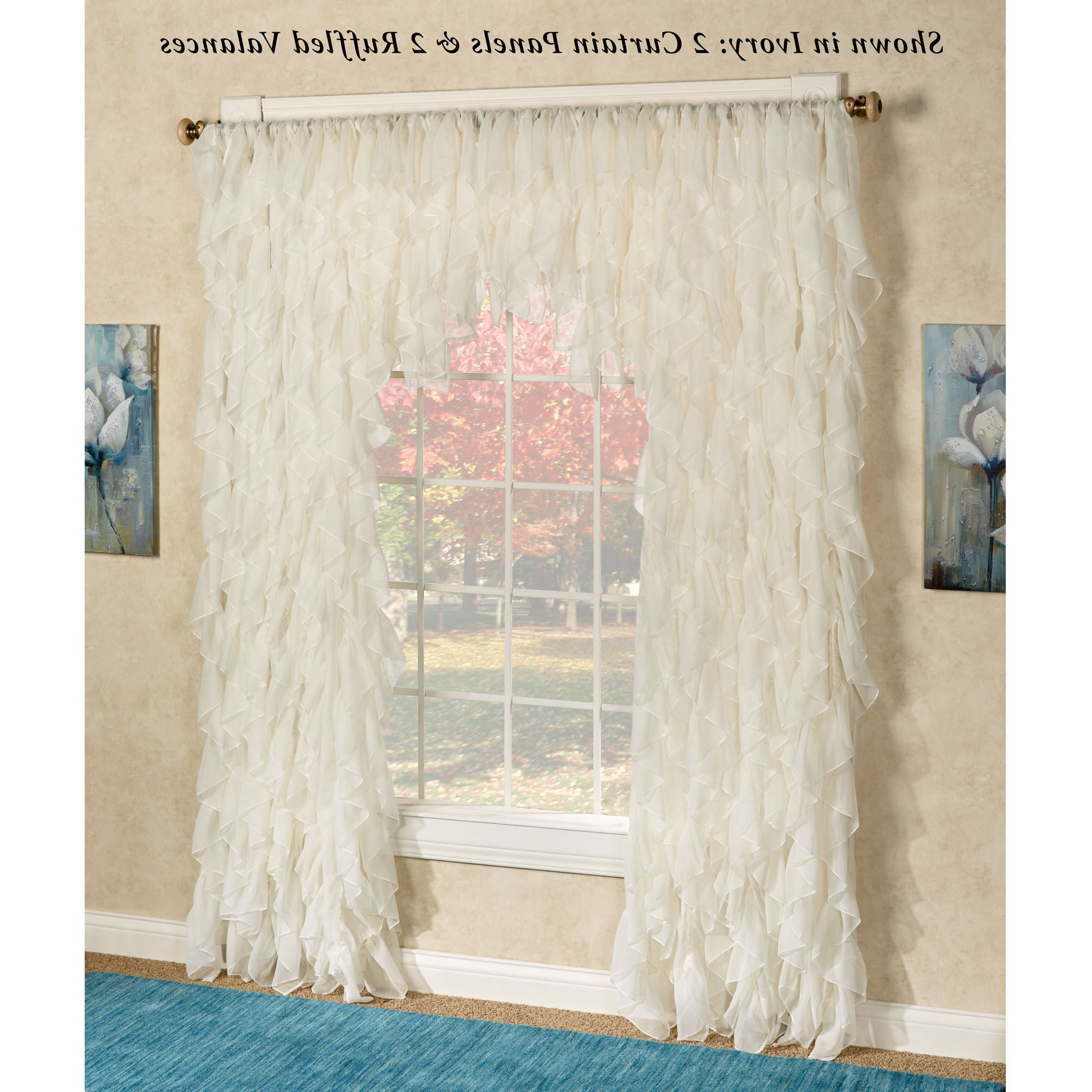 Cascade Sheer Voile Ruffled Window Treatment Regarding Well Liked Sheer Voile Ruffled Tier Window Curtain Panels (View 10 of 20)