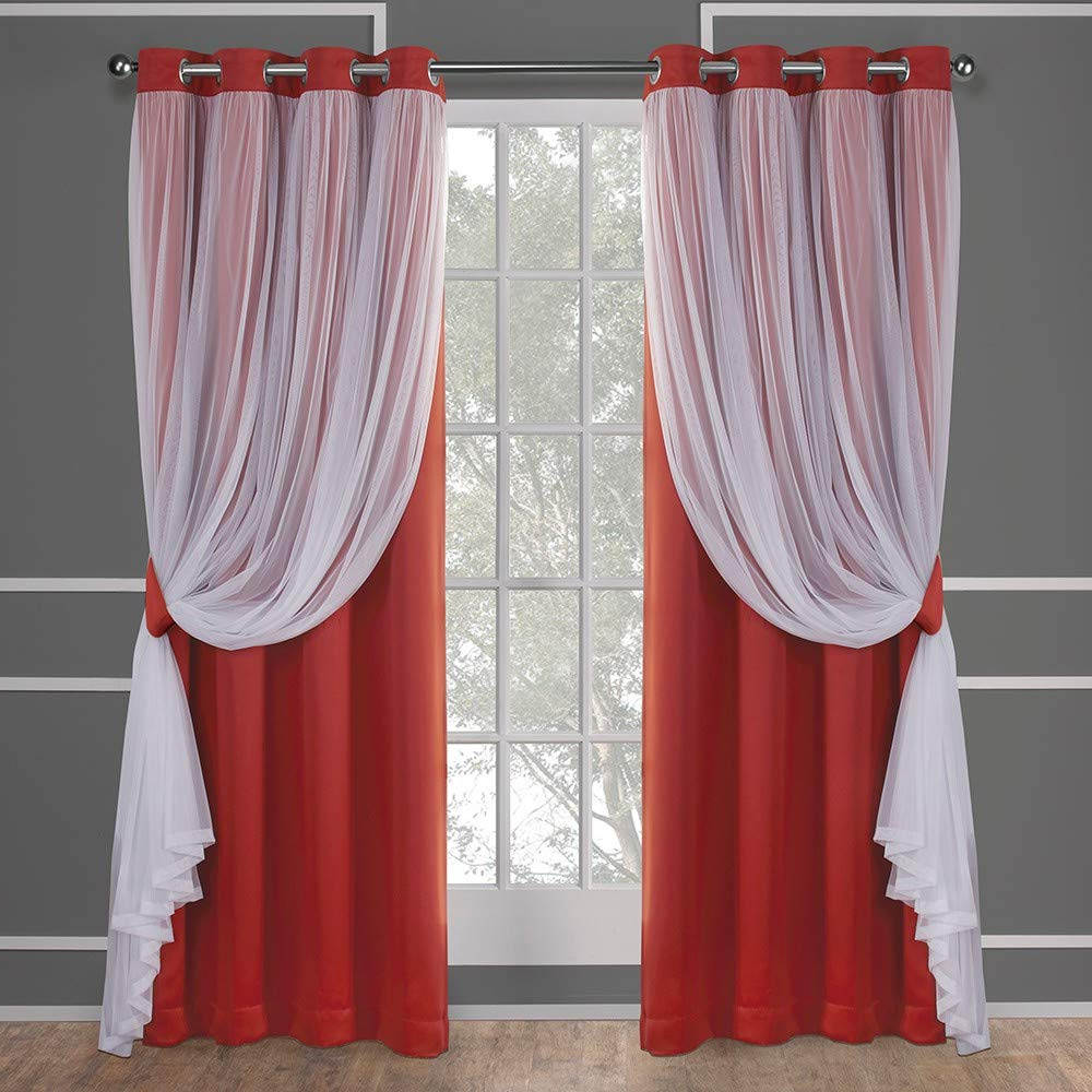 Catarina Layered Curtain Panel Pairs With Grommet Top Throughout Well Known Exclusive Home Curtains Catarina Layered Solid Blackout And Sheer Window Curtain Panel Pair With Grommet Top, 52x96, Spicy Orange, 2 Piece (View 6 of 20)