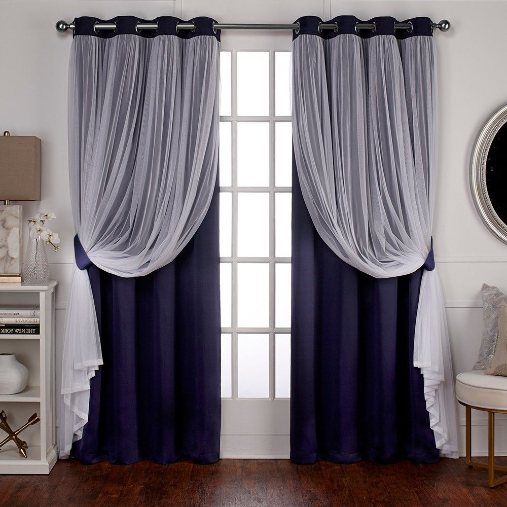 Caterina Layered Solid Blackout With Sheer Top Curtain With Most Recently Released Catarina Layered Curtain Panel Pairs With Grommet Top (View 20 of 20)