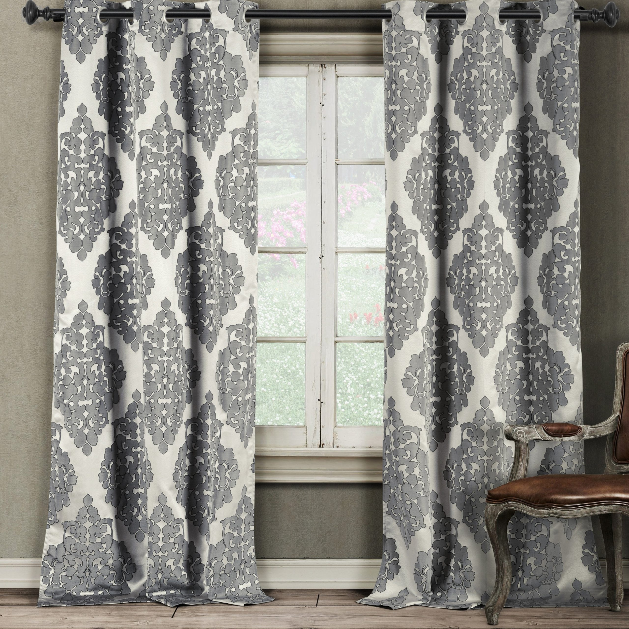 Catilie Grommet Window Curtain Panel Pair Set Of Two Intended For Best And Newest Pastel Damask Printed Room Darkening Grommet Window Curtain Panel Pairs (View 7 of 20)