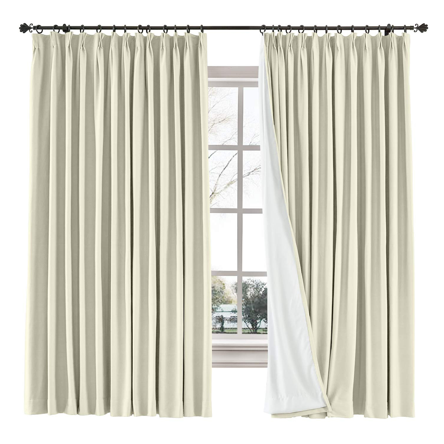 "[%Chadmade Drape Blackout Curtain Linen Cotton Drapery 85% Blackout Solid  Pinch Pleated Curtain Bedroom Living Room Family Room, 72"" W X 84"" L  (Beige, 1 For Best And Newest Solid Cotton Pleated Curtains