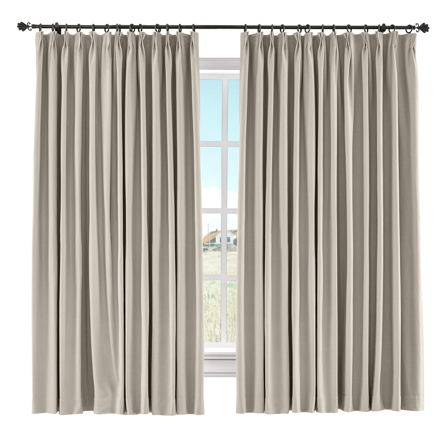 "[%Chadmade Drape Room Darkening Curtain Linen Cotton Drapery 85% Blackout  Solid Pinch Pleated Curtain Bedroom Living Room Family Room, 72"" W X 84"" L Inside Latest Solid Cotton Pleated Curtains
