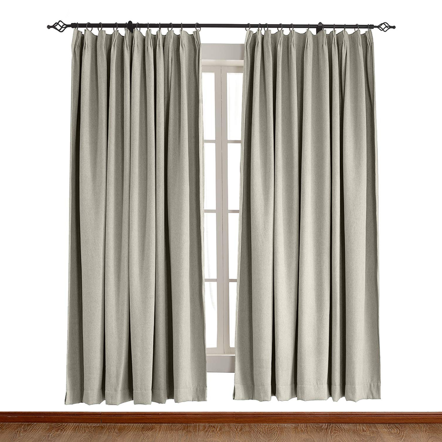 "Chadmade Heavyweight Luxury Faux Linen Curtain Pinch Pleat Drapery Panel  For Traverse Rod Ring Clip Or Track (1 Panel) In 50"" W X 63"" L Rock White For Most Recently Released Luxury Collection Faux Leather Blackout Single Curtain Panels (View 2 of 20)"