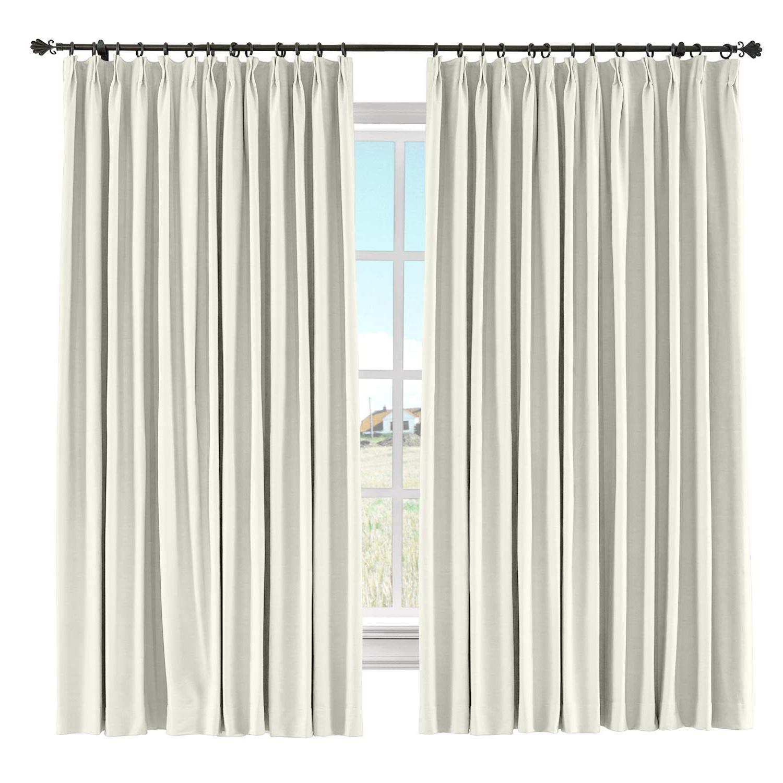 "Chadmade Light Blocking Curtain Panel Cotton Linen Drape Window Treatments Curtain Solid Pinch Pleated Curtain Window Short Curtain, 60"" W X 108"" L Within Most Current Solid Cotton Pleated Curtains (View 7 of 20)"