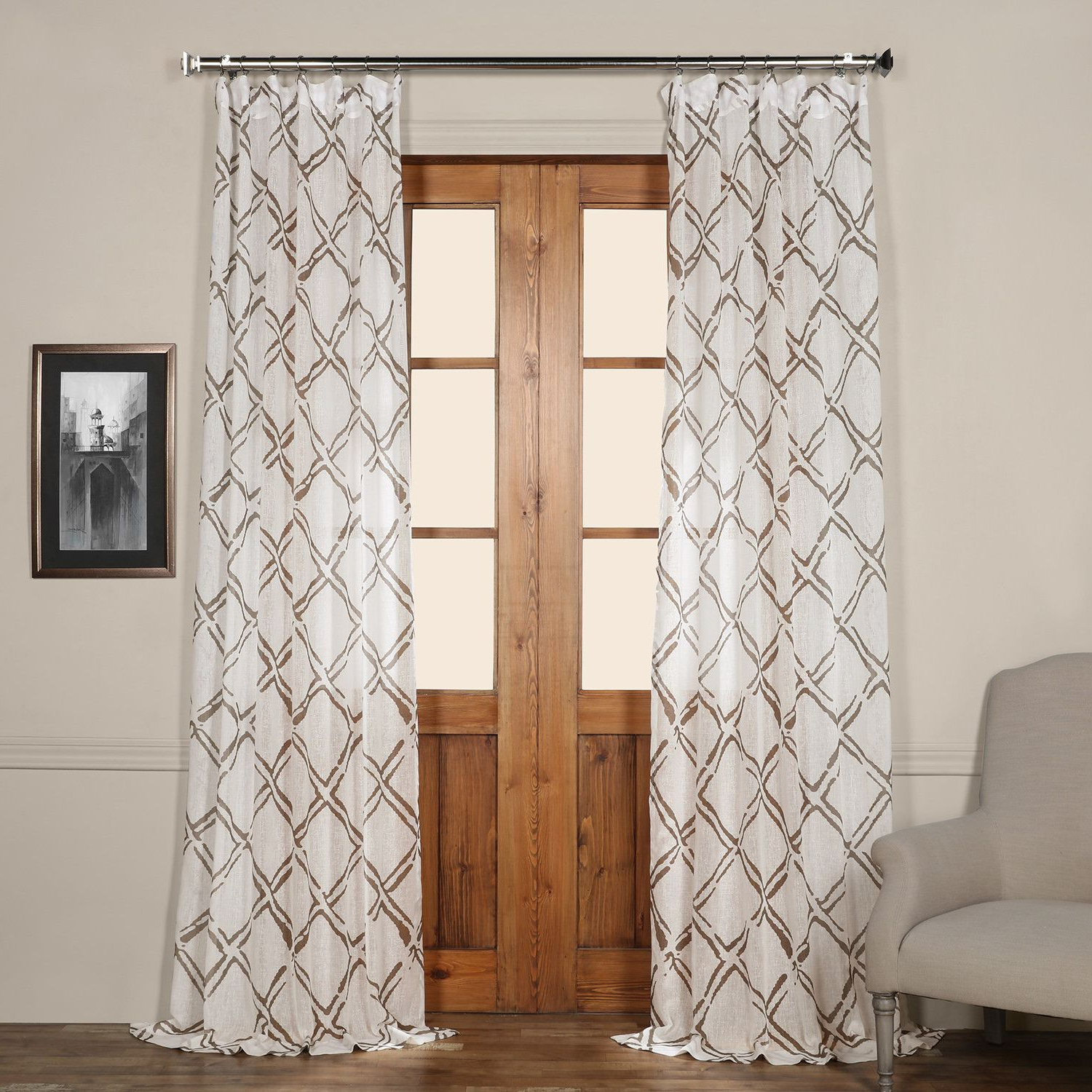 Chantelle Geometric Sheer Tab Top Single Curtain Panel With Regard To Trendy Sarong Grey Printed Cotton Pole Pocket Single Curtain Panels (View 15 of 20)