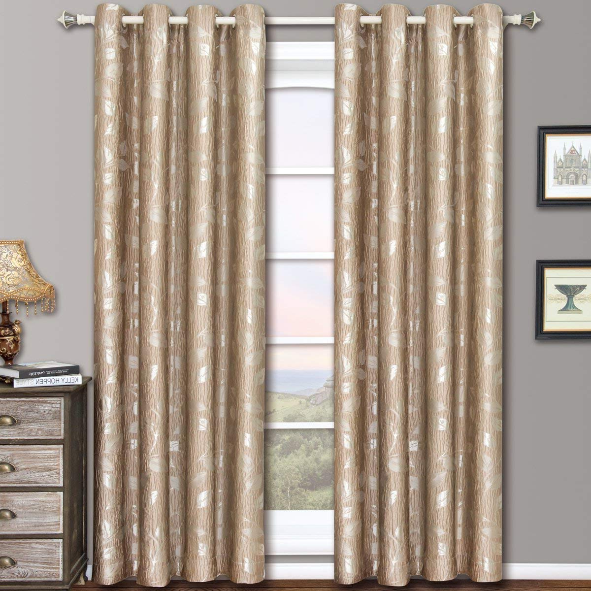 Charlotte Mocha Grommet Jacquard Window Curtain Panels, Pair / Set Of 2 Panels, 52x96 Inches Each,royal Hotel Inside Most Current Elegant Comfort Luxury Penelopie Jacquard Window Curtain Panel Pairs (View 11 of 20)