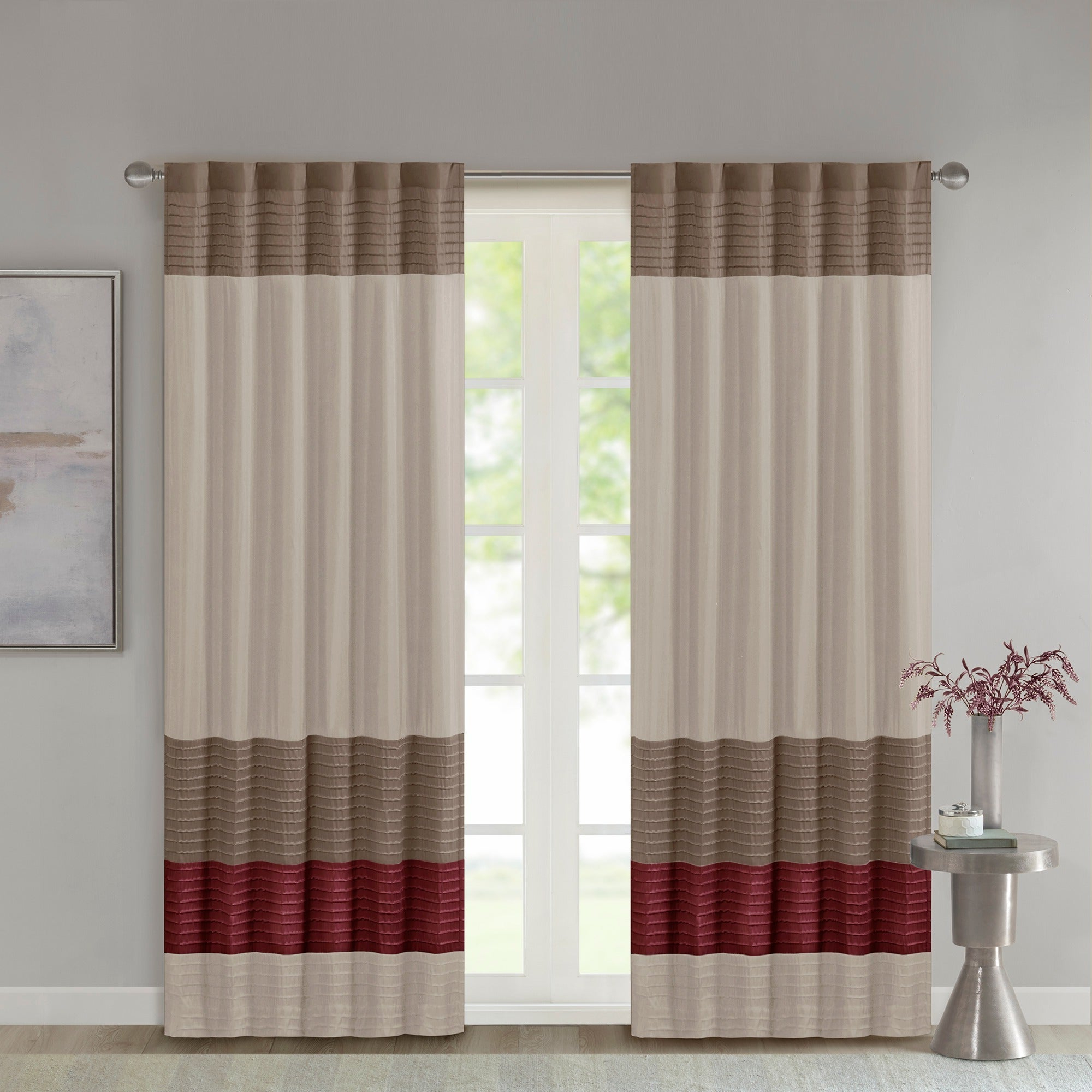Chester Polyoni Pintuck Curtain Panels Inside Most Up To Date Madison Park Tradewinds Polyoni Pintuck Single Curtain Panel – 50 X  (View 4 of 20)