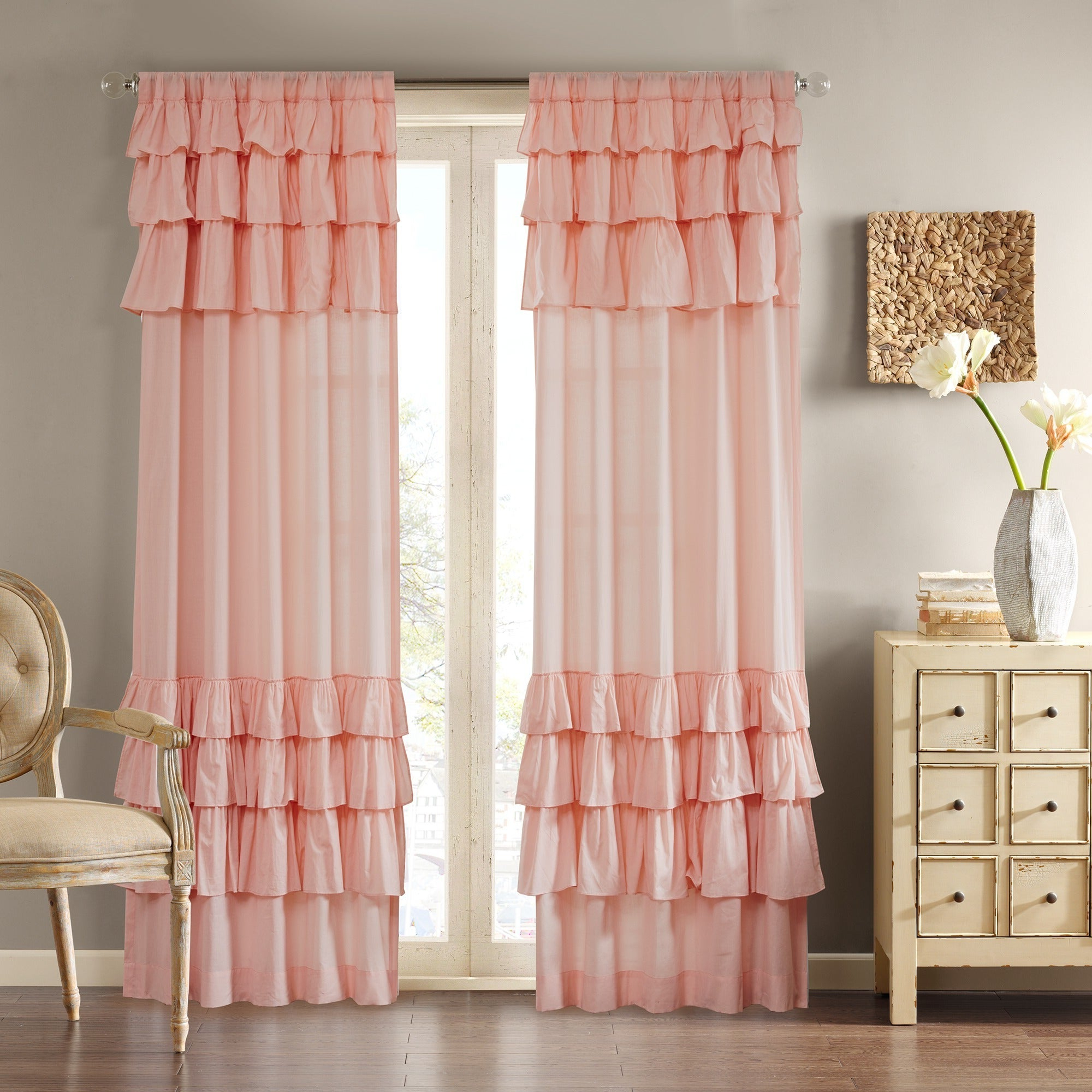 Chester Polyoni Pintuck Curtain Panels Pertaining To Popular Madison Park Joycelyn Cotton 84 Inch Oversized Ruffle (View 9 of 20)