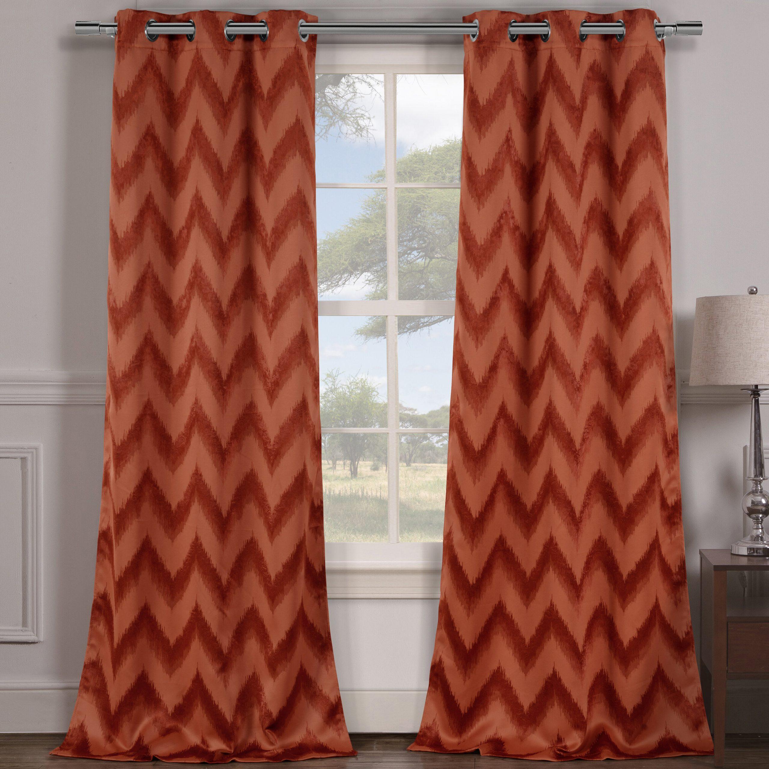 Chevron Blackout Grommet Curtain Panels For Best And Newest Jacksonwald Chevron Blackout Grommet Curtain Panels (View 4 of 20)