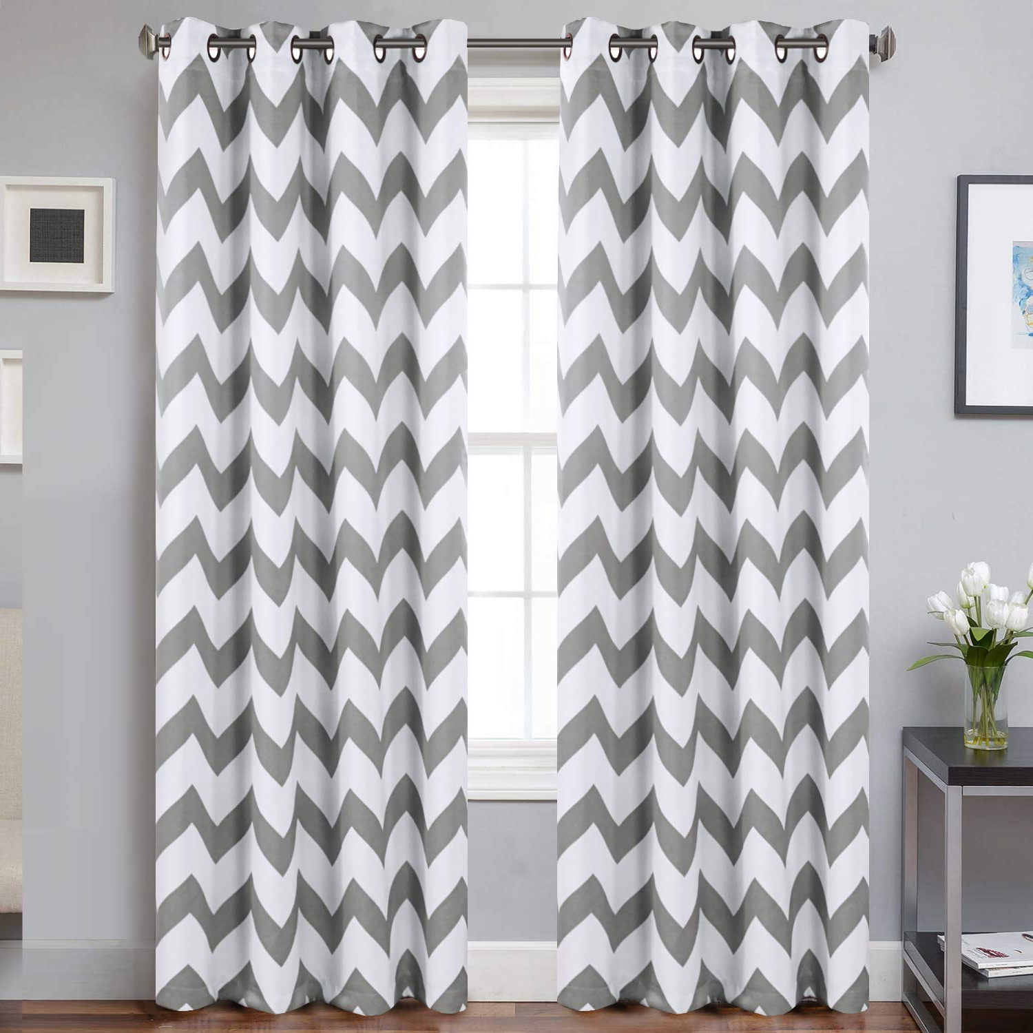Chevron Blackout Grommet Curtain Panels Throughout Fashionable Chevron Blackout Curtains Dove Polyline Microfiber Thermal Insulated Grommet Room Darkening Drapes For Indoors Window Treatments Drapes For Bedroom ( (View 2 of 20)