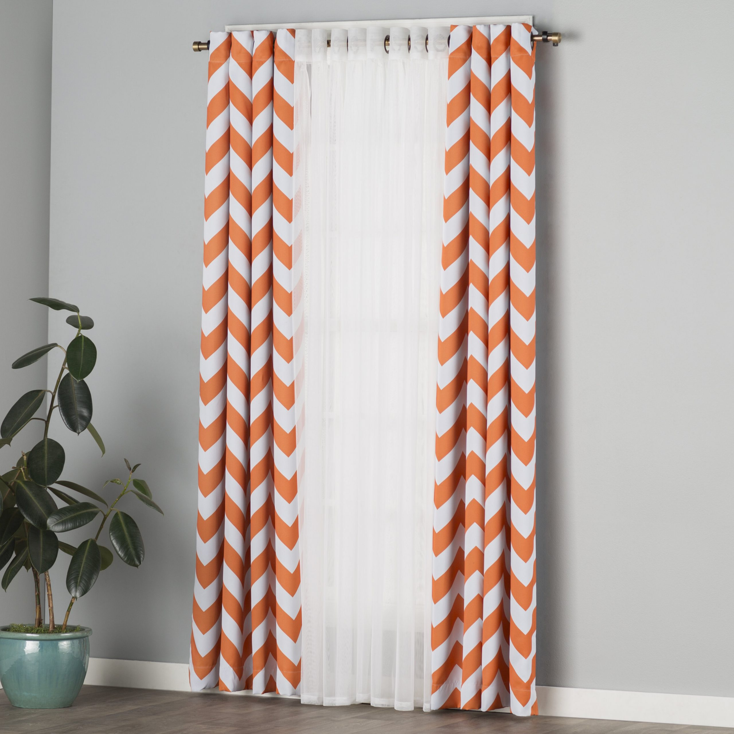 Chevron Blackout Grommet Curtain Panels With Well Known Barlowe Tulle Chevron Blackout Grommet Curtain Panels (View 17 of 20)