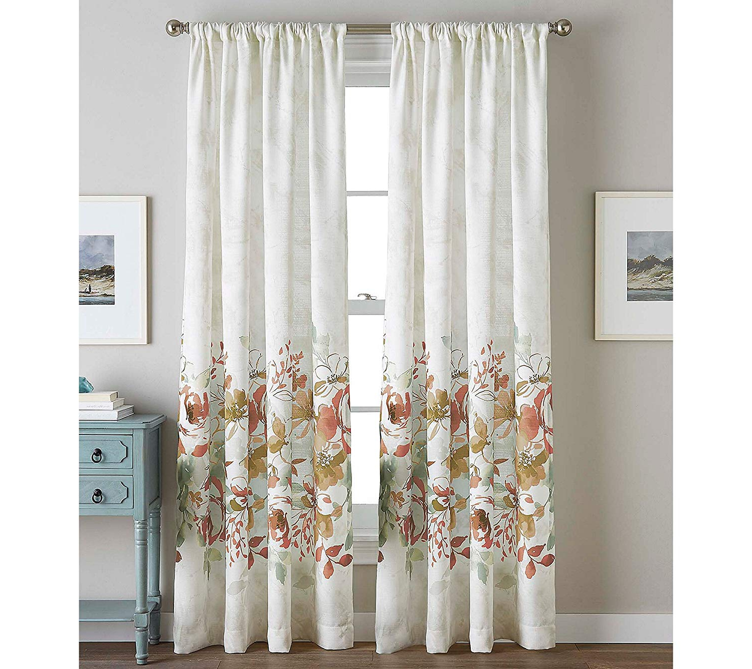 "Chf Watercolor Floral Curtain Panel, 84"", Spice For Current Andorra Watercolor Floral Textured Sheer Single Curtain Panels (View 7 of 20)"