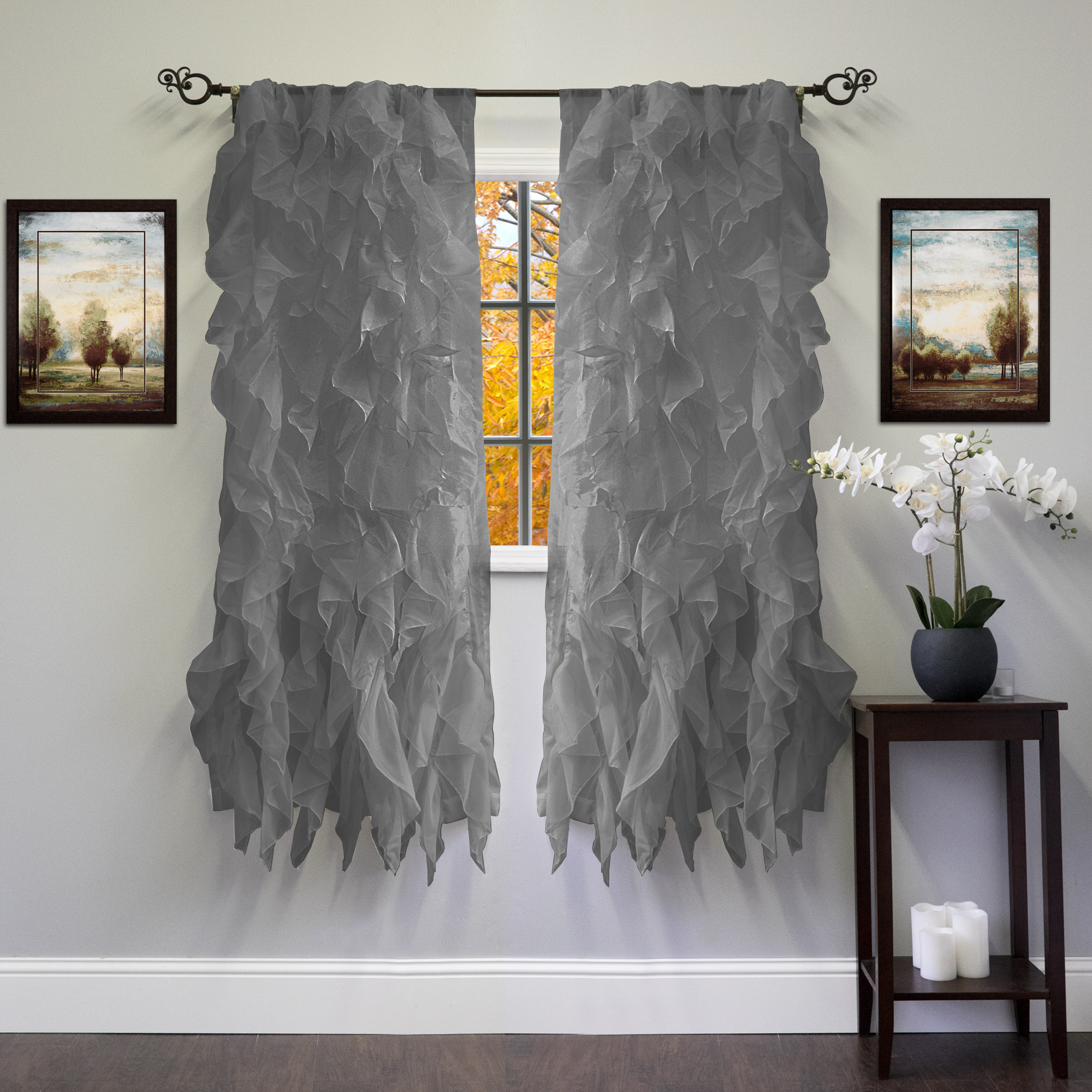 """Chic Sheer Voile Vertical Ruffled Tier Window Curtain Panel 50"""" X 63"""" –  Walmart With Regard To Current Sheer Voile Ruffled Tier Window Curtain Panels (View 2 of 20)"""