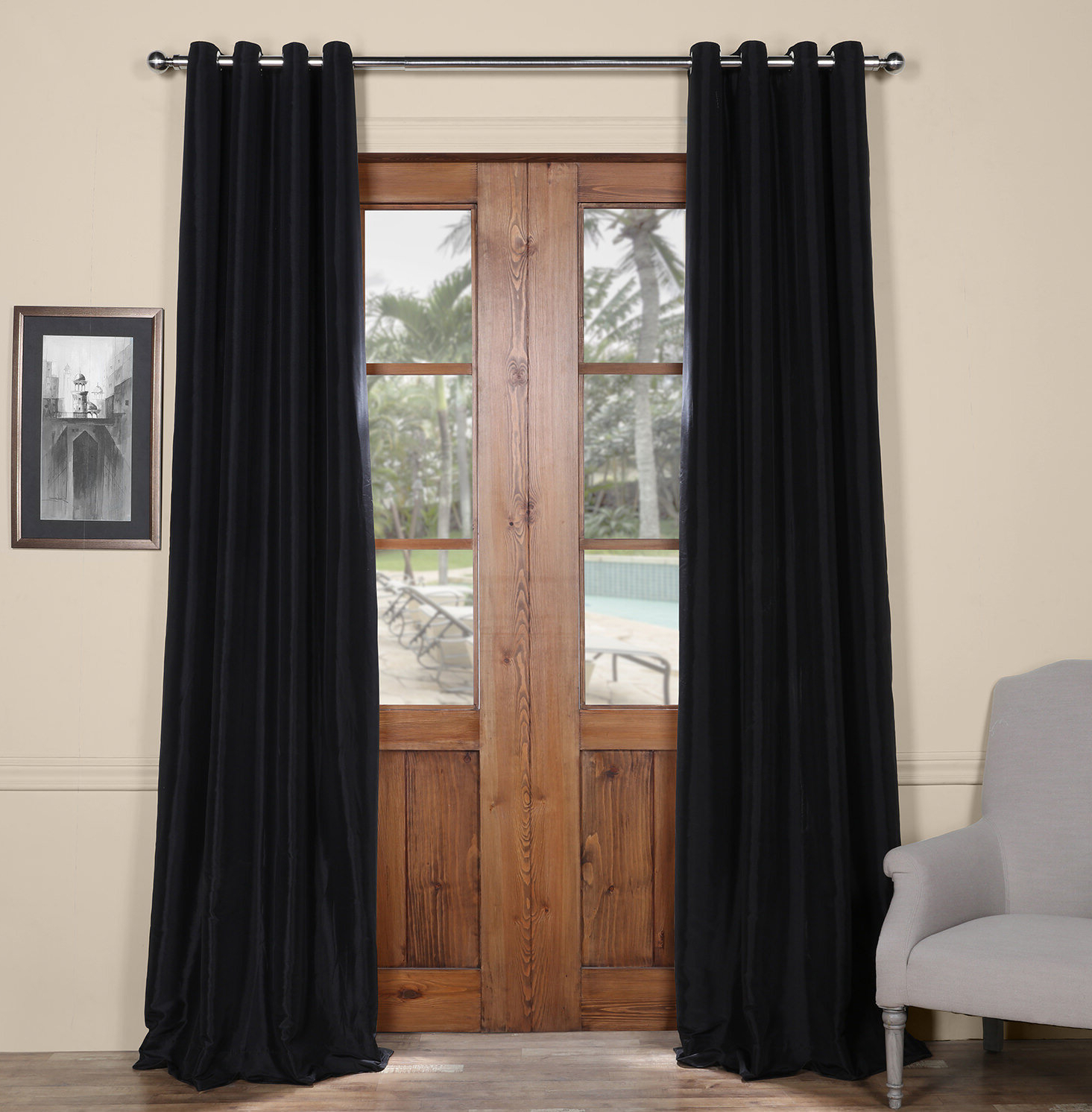 Clapham Solid Blackout Faux Silk Taffeta Thermal Rod Pocket Single Curtain Panel Pertaining To Favorite Faux Silk Taffeta Solid Blackout Single Curtain Panels (View 9 of 20)