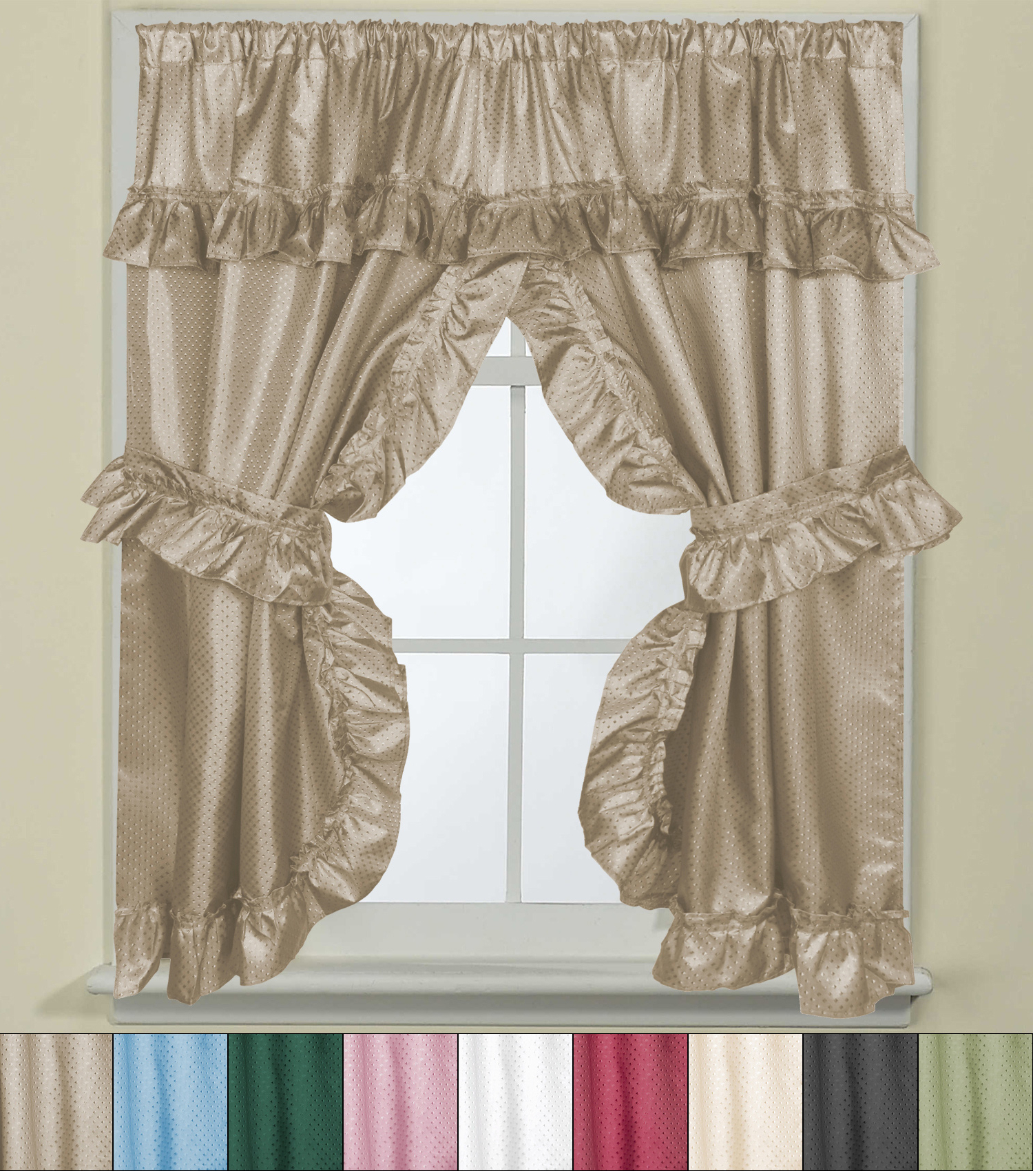 """Classic Hotel Quality Water Resistant Fabric Curtains Set With Tiebacks Inside Fashionable Details About Bathroom Window Curtain Set W/tie Backs & Ruffle Valance  Lauren 70""""x45"""" (View 4 of 20)"""
