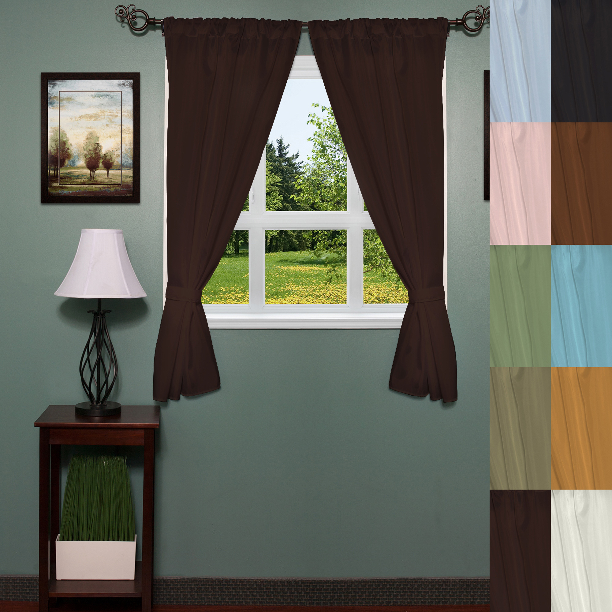"""Classic Hotel Quality Water Resistant Fabric Curtains Set With Tiebacks Throughout Most Current Details About Classic Hotel Quality 36""""w X 54""""l Fabric Bathroom Window  Curtain Set W/tiebacks (View 5 of 20)"""