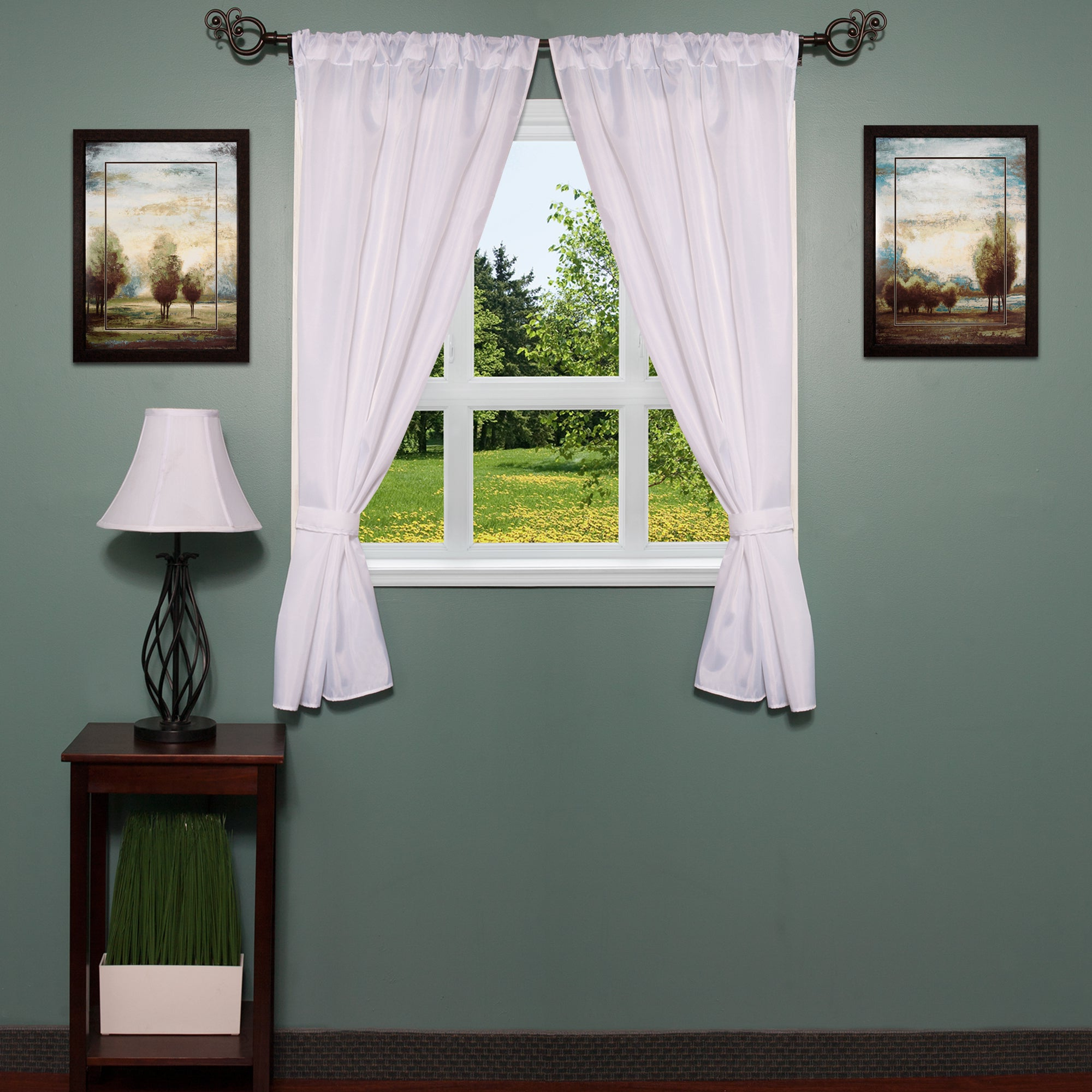 Featured Photo of Classic Hotel Quality Water Resistant Fabric Curtains Set With Tiebacks