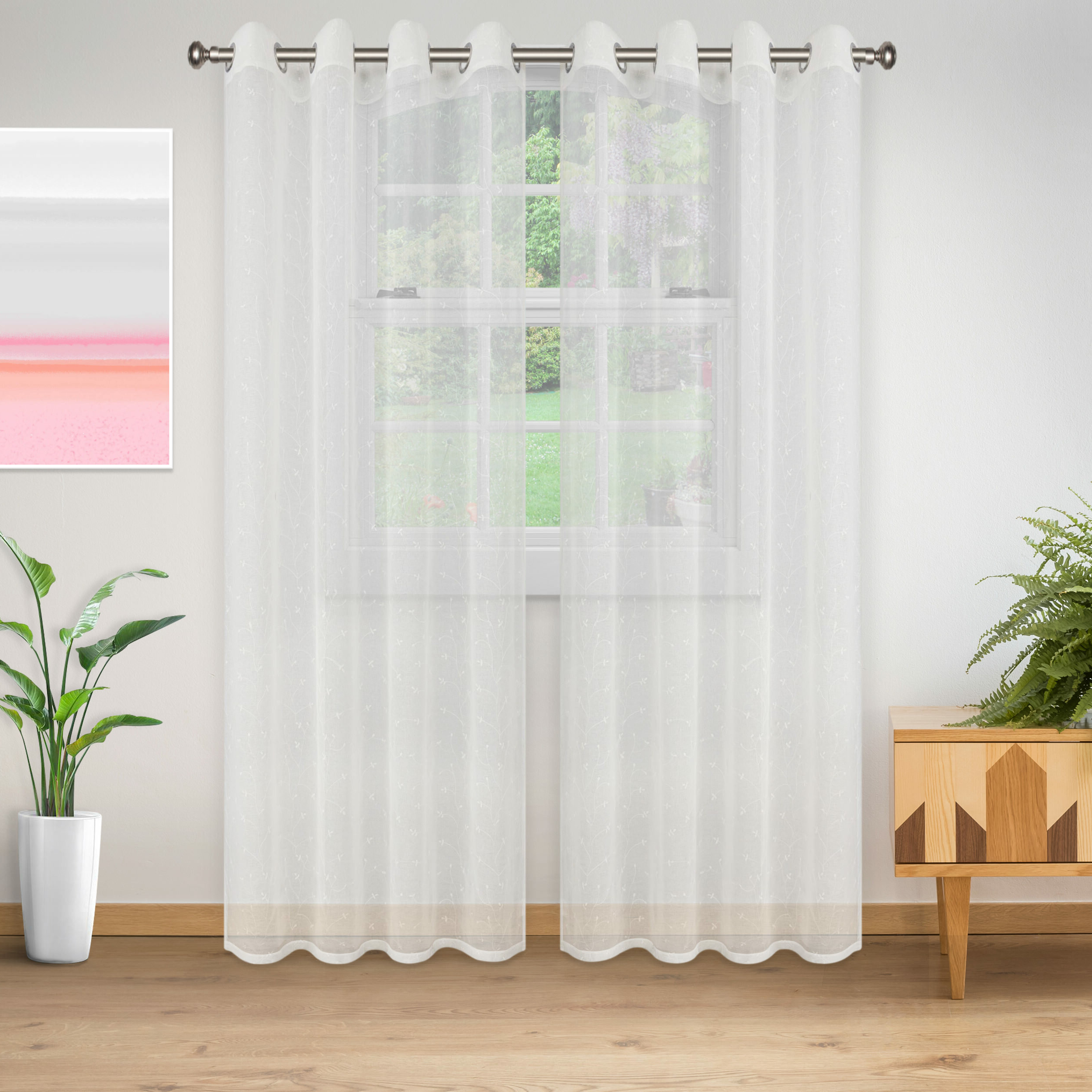 Colena Lightweight Delicate Flower Sheer Grommet Curtain Panels In Trendy Luxury Collection Cranston Sheer Curtain Panel Pairs (View 12 of 20)