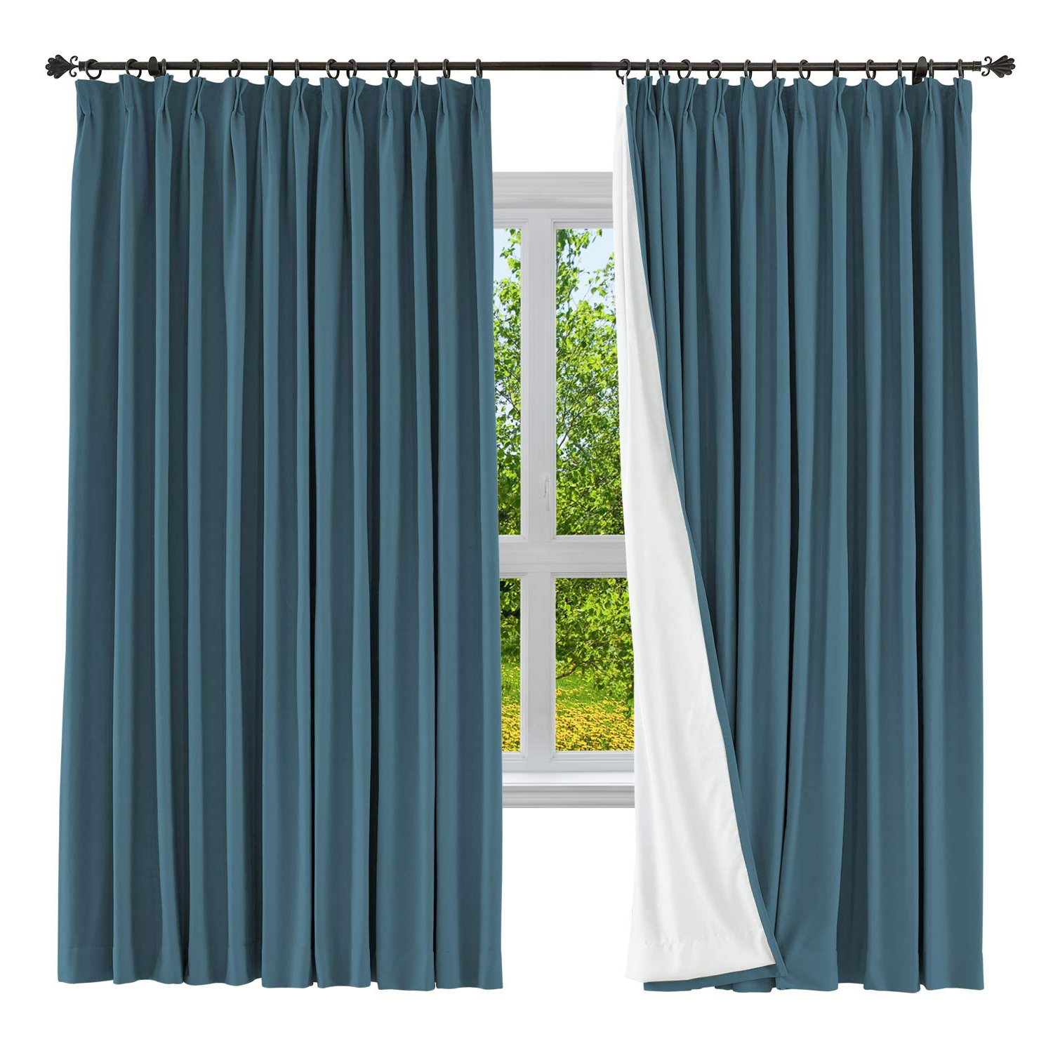 "Cololeaf Blackout Curtain Linen Cotton Drapery Blackout Solid Pinch Pleated  Curtain For Bedroom Living Room Family Room, 84"" W X 84"" L (Dark Blue, 1 Throughout Widely Used Solid Cotton Pleated Curtains (View 6 of 20)"