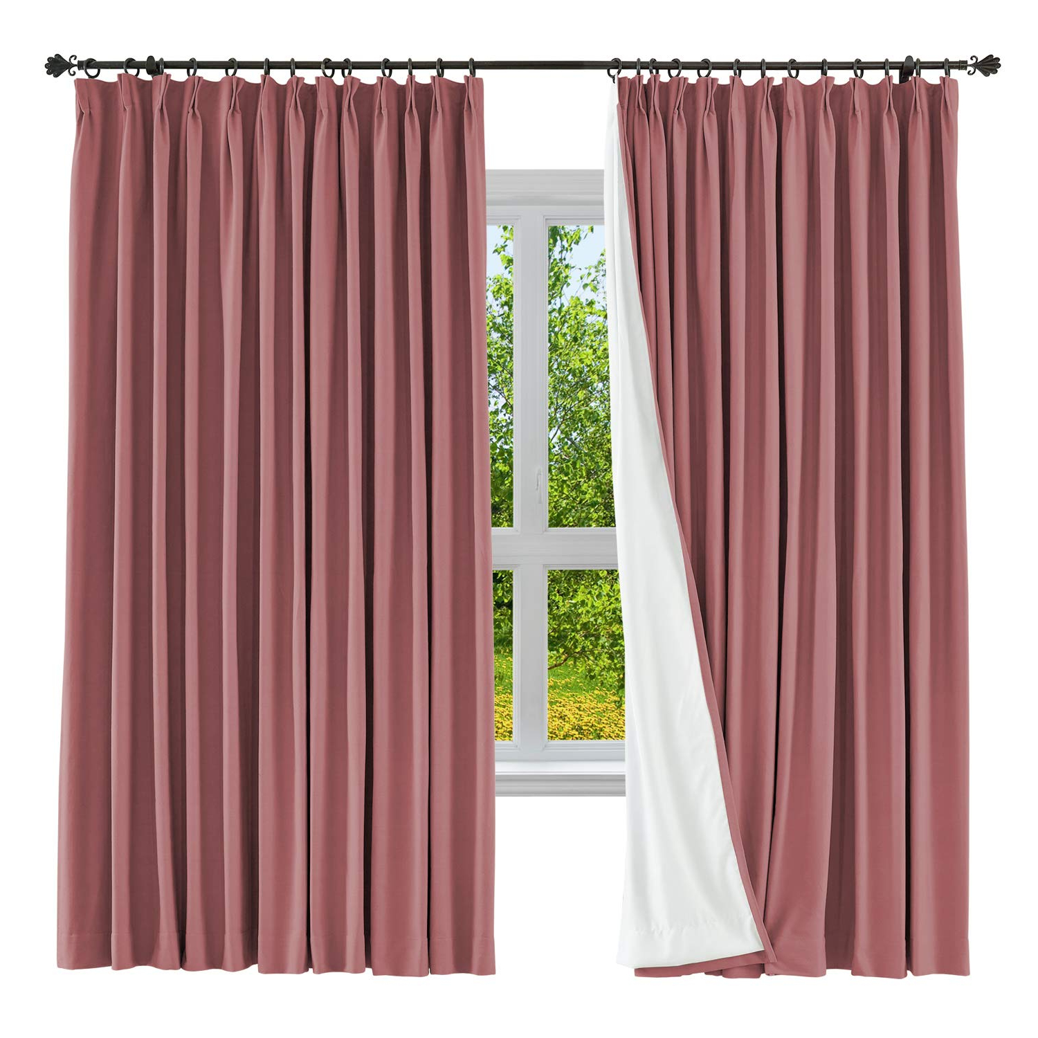 "Cololeaf Blackout Curtain Linen Cotton Drapery Blackout Solid Pinch Pleated  Curtain For Bedroom Living Room Family Room, 84"" W X 84"" L (Red, 1 Panel) Intended For 2020 Solid Cotton Pleated Curtains (View 7 of 20)"