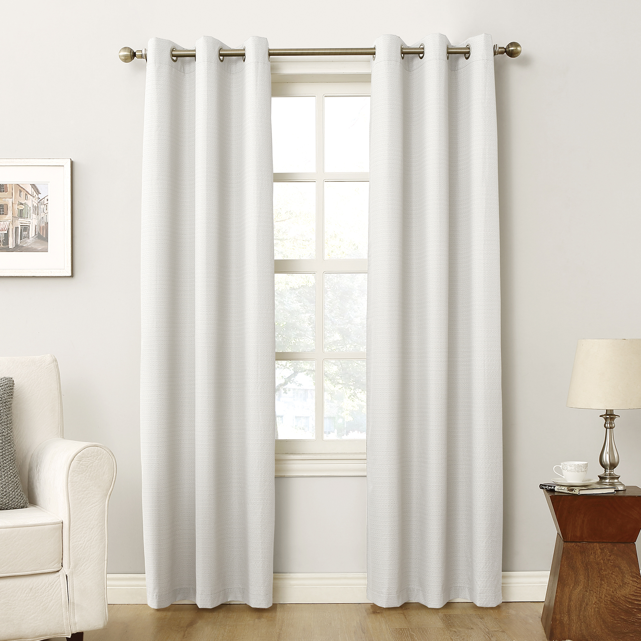 Cooper Textured Thermal Insulated Grommet Curtain Panels For Most Popular Sun Zero Cooper Textured Thermal Lined Room Darkening Energy Efficient Grommet Curtain Panel (View 5 of 20)