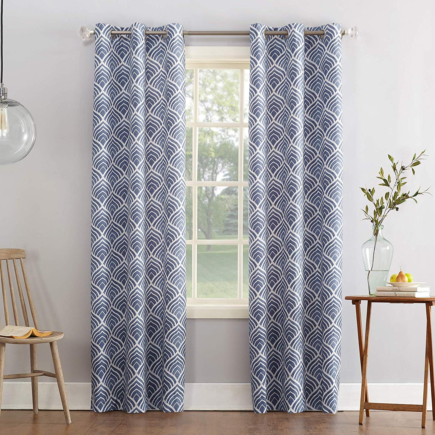 "Cooper Textured Thermal Insulated Grommet Curtain Panels Pertaining To Favorite Sun Zero Cooper Geometric Print Thermal Insulated Room Darkening Grommet  Curtain Panel 40"" X 84"" Blue (View 6 of 20)"