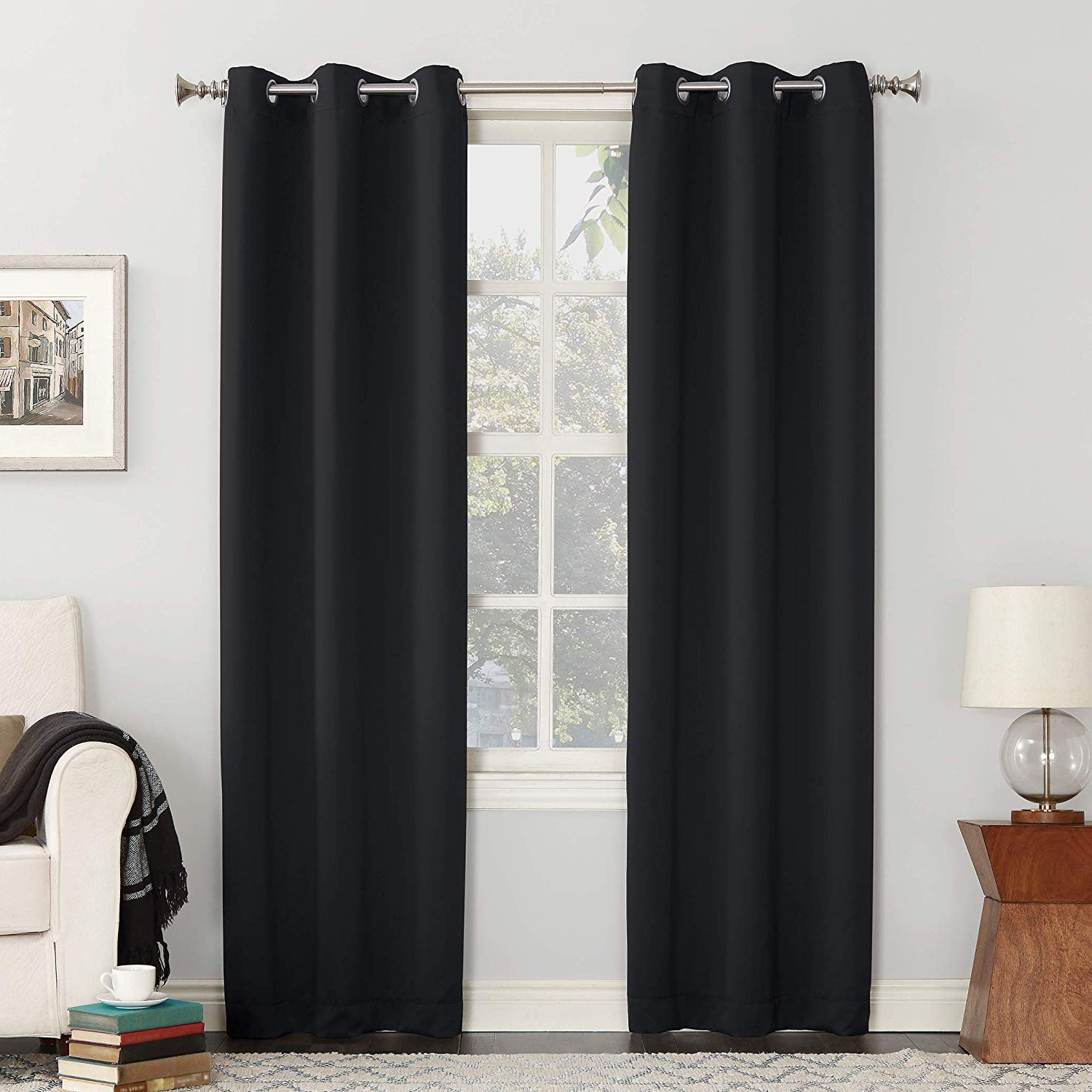 "Cooper Textured Thermal Insulated Grommet Curtain Panels Pertaining To Well Known Sun Zero Easton Blackout Energy Efficient Grommet Curtain Panel, 40"" X 84"", Black (View 9 of 20)"