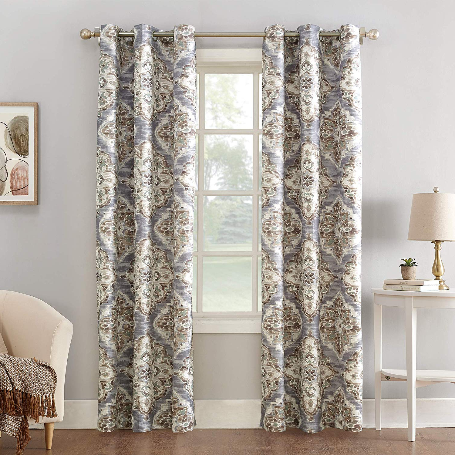 "Cooper Textured Thermal Insulated Grommet Curtain Panels With Regard To Preferred Sun Zero Cooper Floral Watercolor Thermal Insulated Room Darkening Grommet  Curtain Panel 40"" X 63"" Gray (View 9 of 20)"