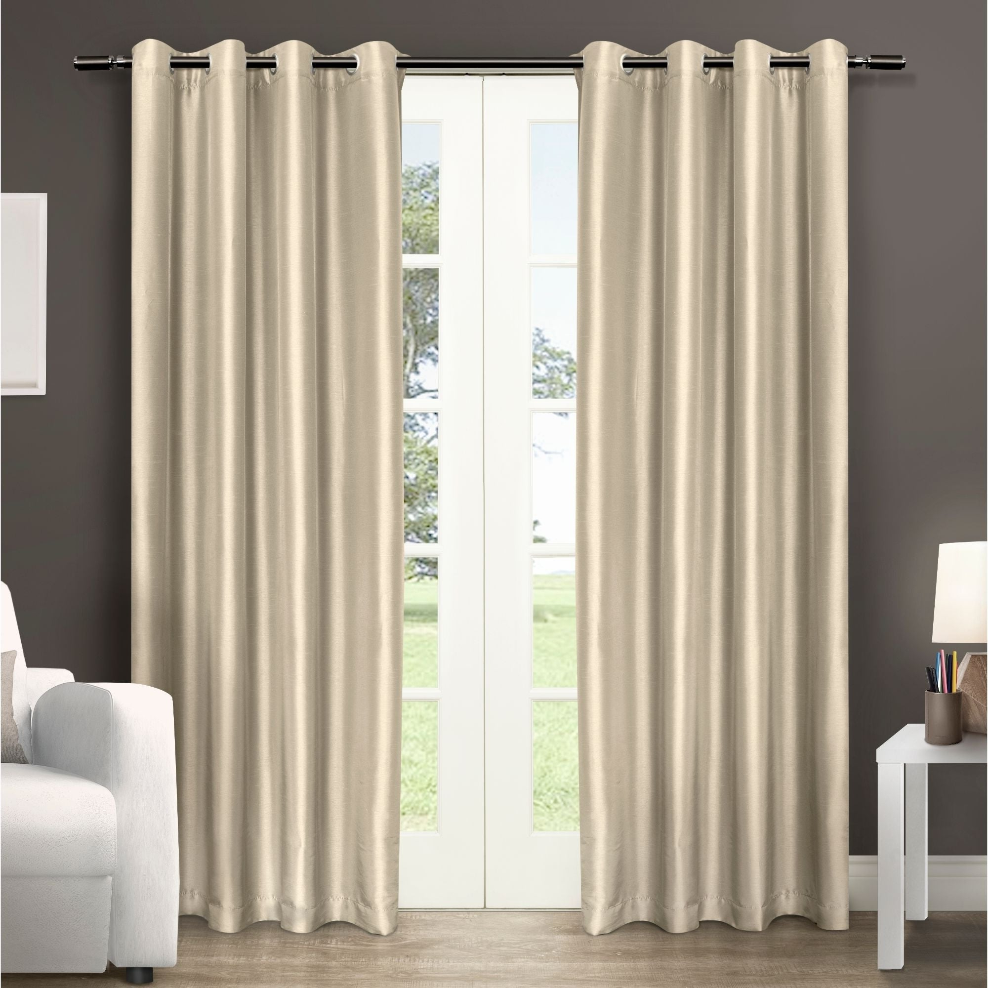Copper Grove Fulgence Faux Silk Grommet Top Panel Curtains – N/ A Within Most Current Copper Grove Fulgence Faux Silk Grommet Top Panel Curtains (View 4 of 20)