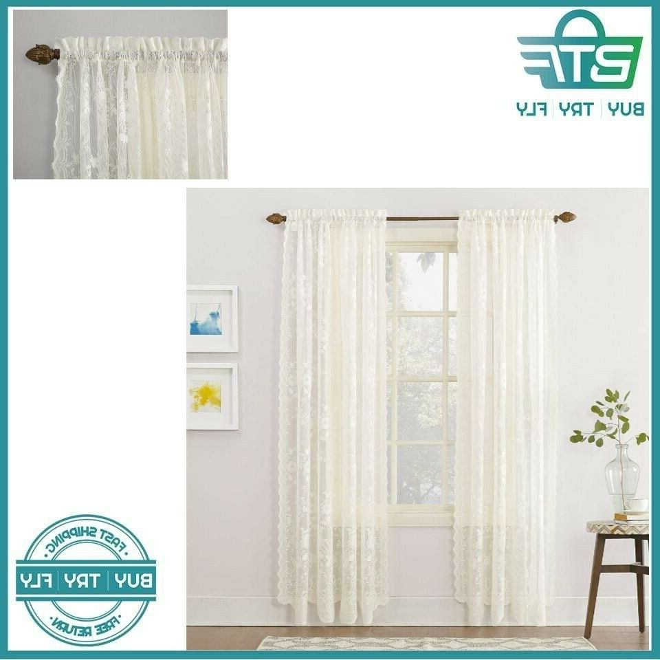 Current Alison Rod Pocket Lace Window Curtain Panels Throughout Floral Lace Curtains Alison Sheer Rod Pocket Curtain Panel 58 X 84 Inches Ivory (View 17 of 20)