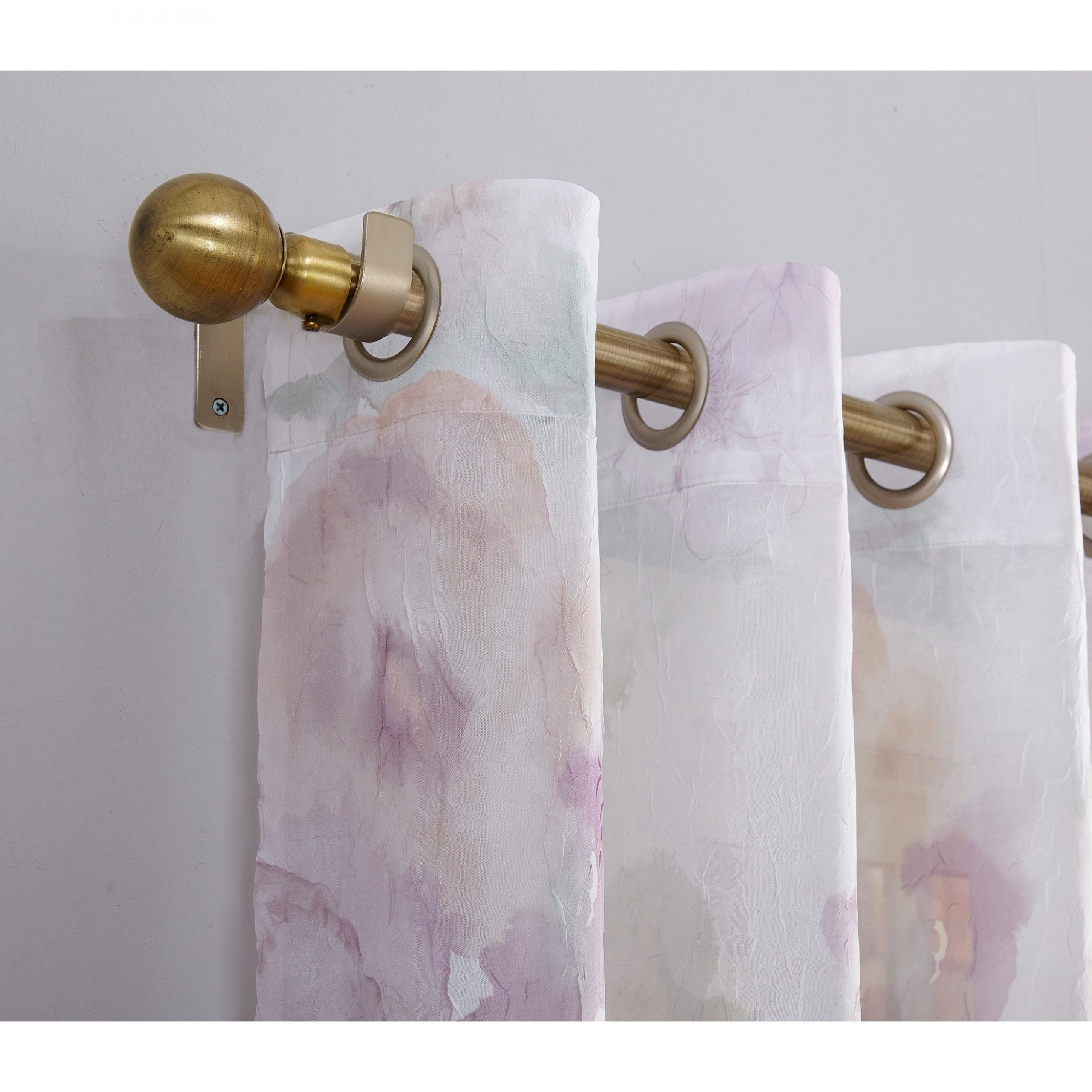 Current Andorra Watercolor Floral Textured Sheer Single Curtain Panels Intended For No (View 5 of 20)
