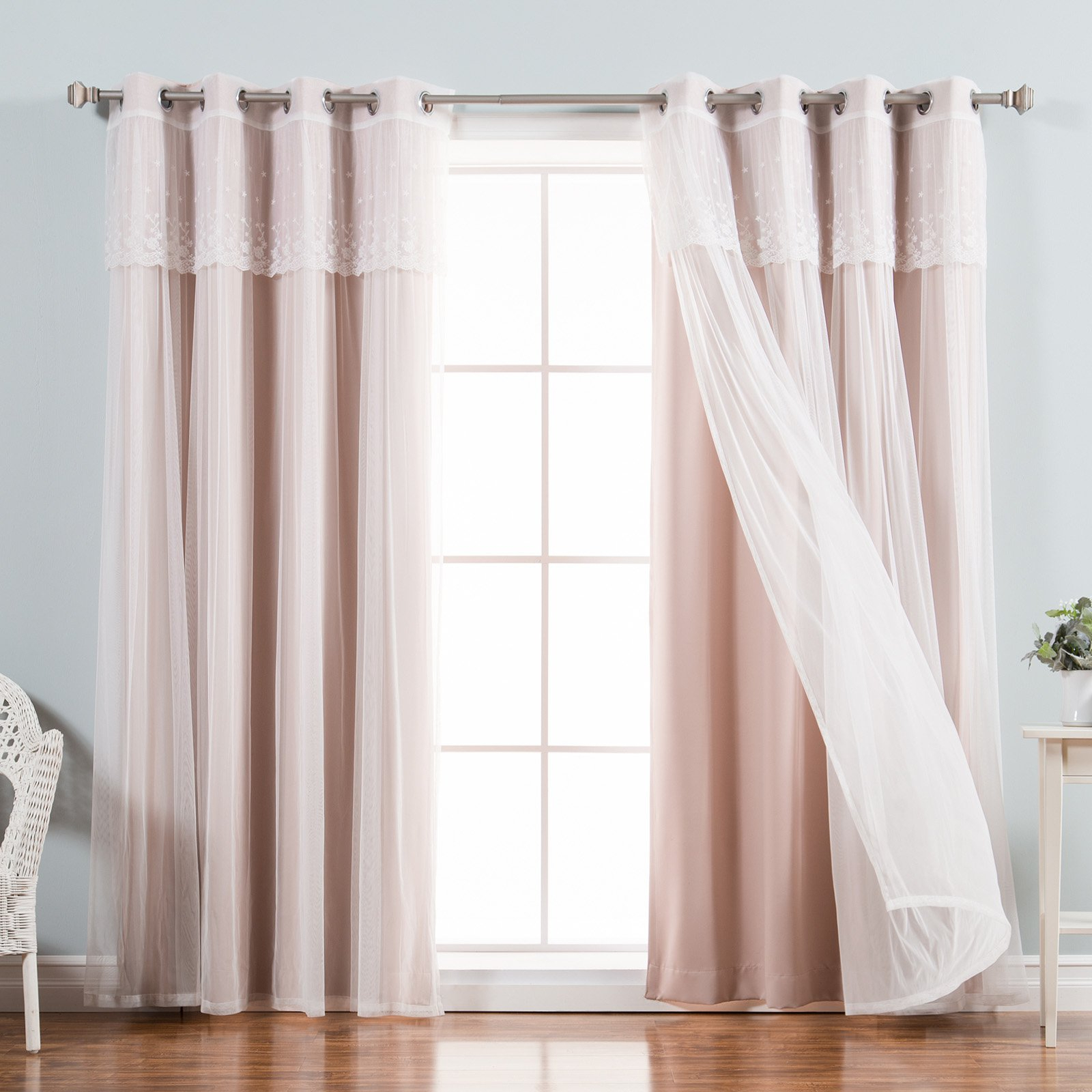 Current Aurora Home Mix & Match Tulle Sheer With Attached Valance And Blackout 4 Piece Curtain Panel Pair Within Tulle Sheer With Attached Valance And Blackout 4 Piece Curtain Panel Pairs (View 12 of 20)