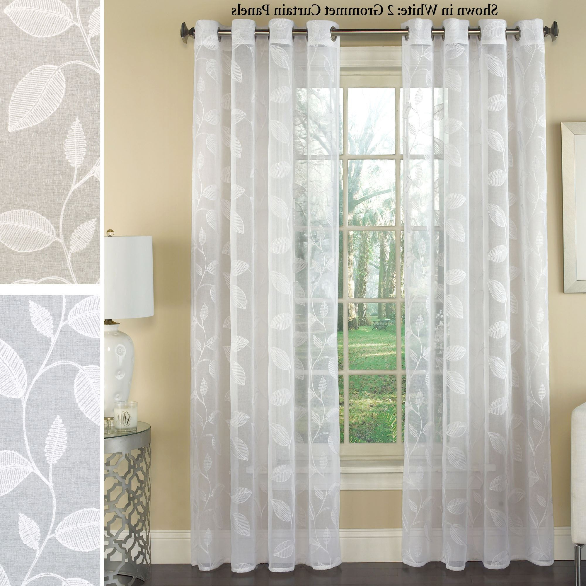Current Avery Semi Sheer Embroidered Grommet Curtain Panels Intended For Grommet Curtain Panels (View 11 of 20)