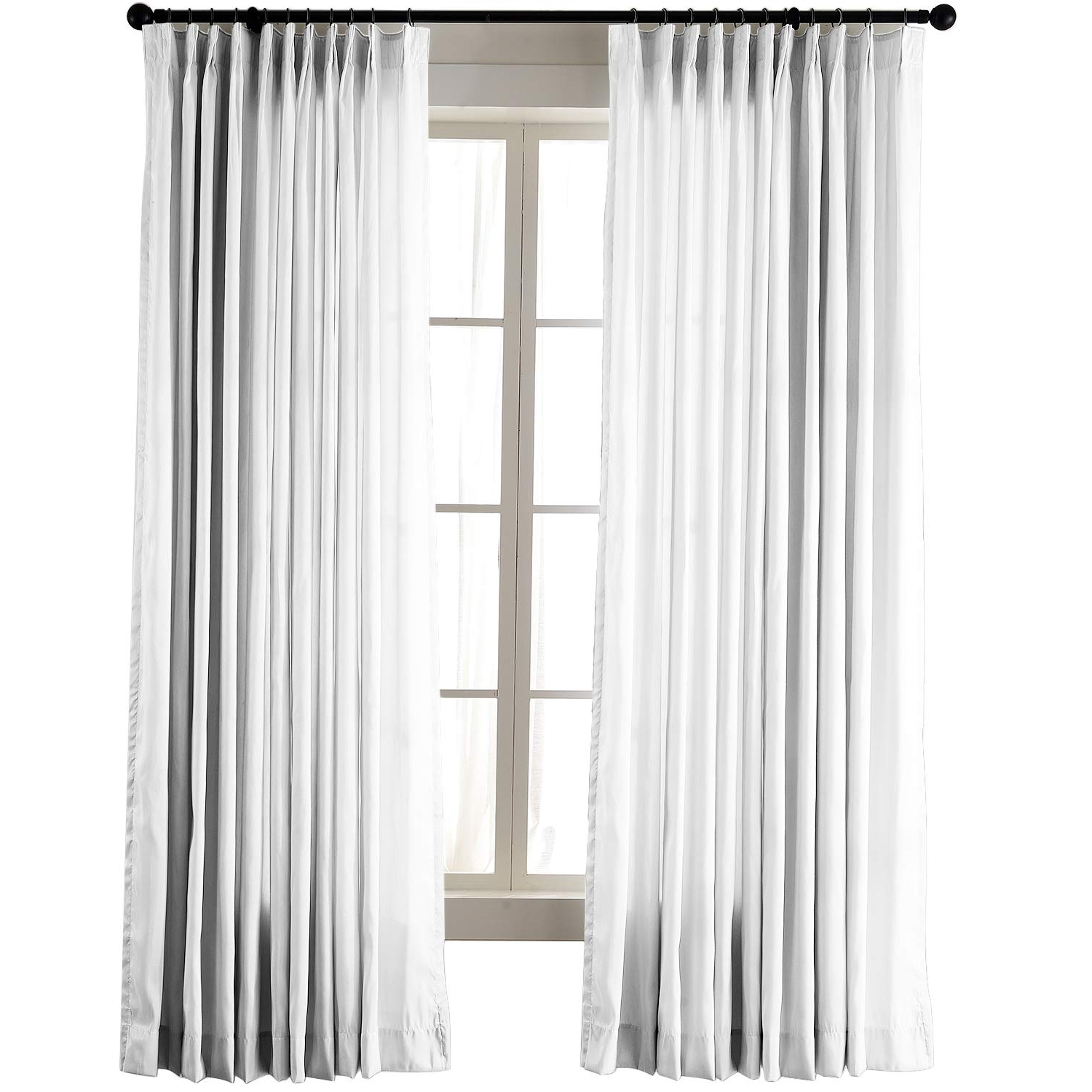 "Current Chadmade Vintage Textured Faux Dupioni Silk Drape Curtain Panel Pinch  Pleated 72"" W X 84"" L With White Blackout Lined, White Ivory With Storm Grey Vintage Faux Textured Dupioni Single Silk Curtain Panels (View 2 of 20)"