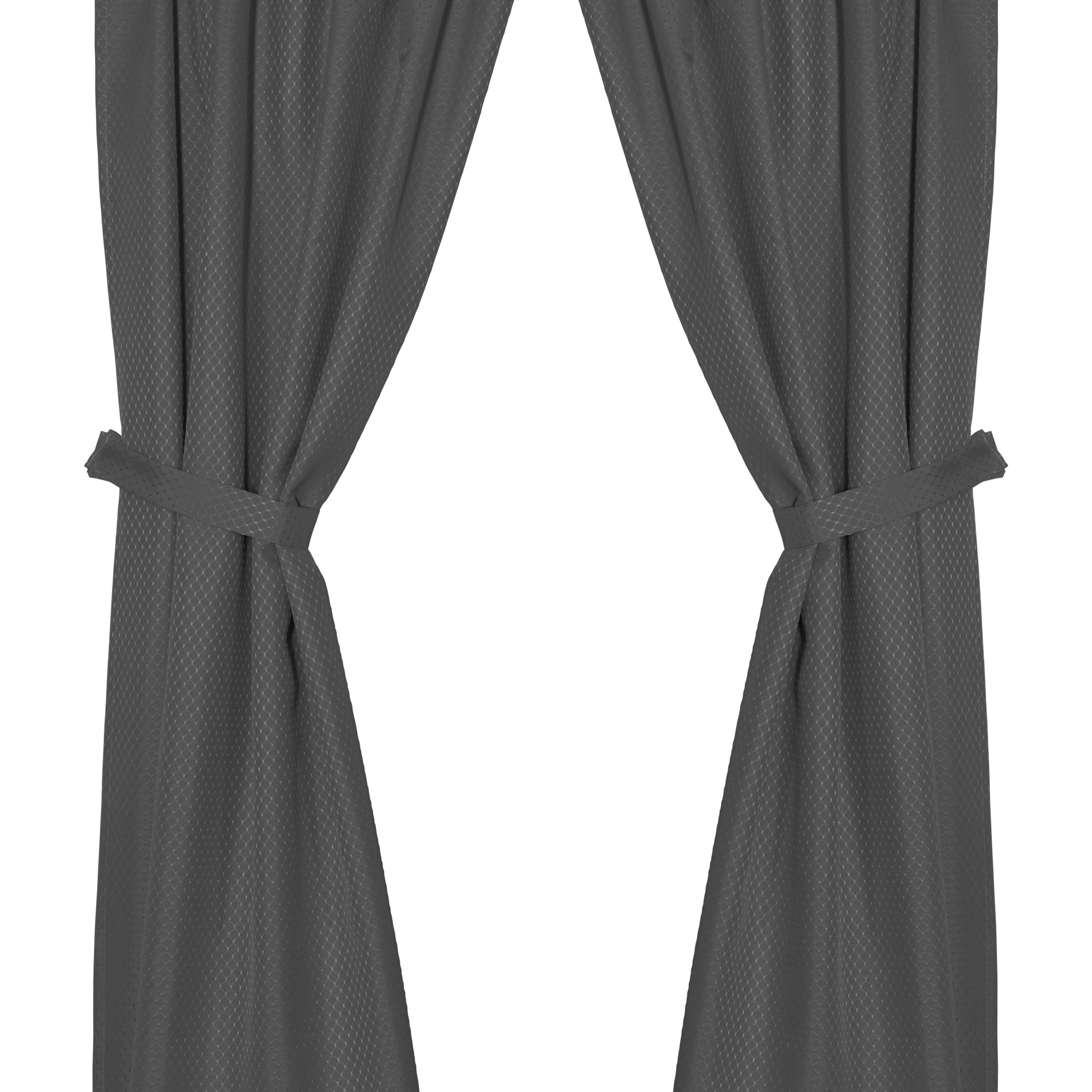 """Current Classic Hotel Quality Water Resistant Fabric Curtains Set With Tiebacks Regarding Grace"""" Jacquard Bathroom Window Curtain In Black – Walmart (View 10 of 20)"""