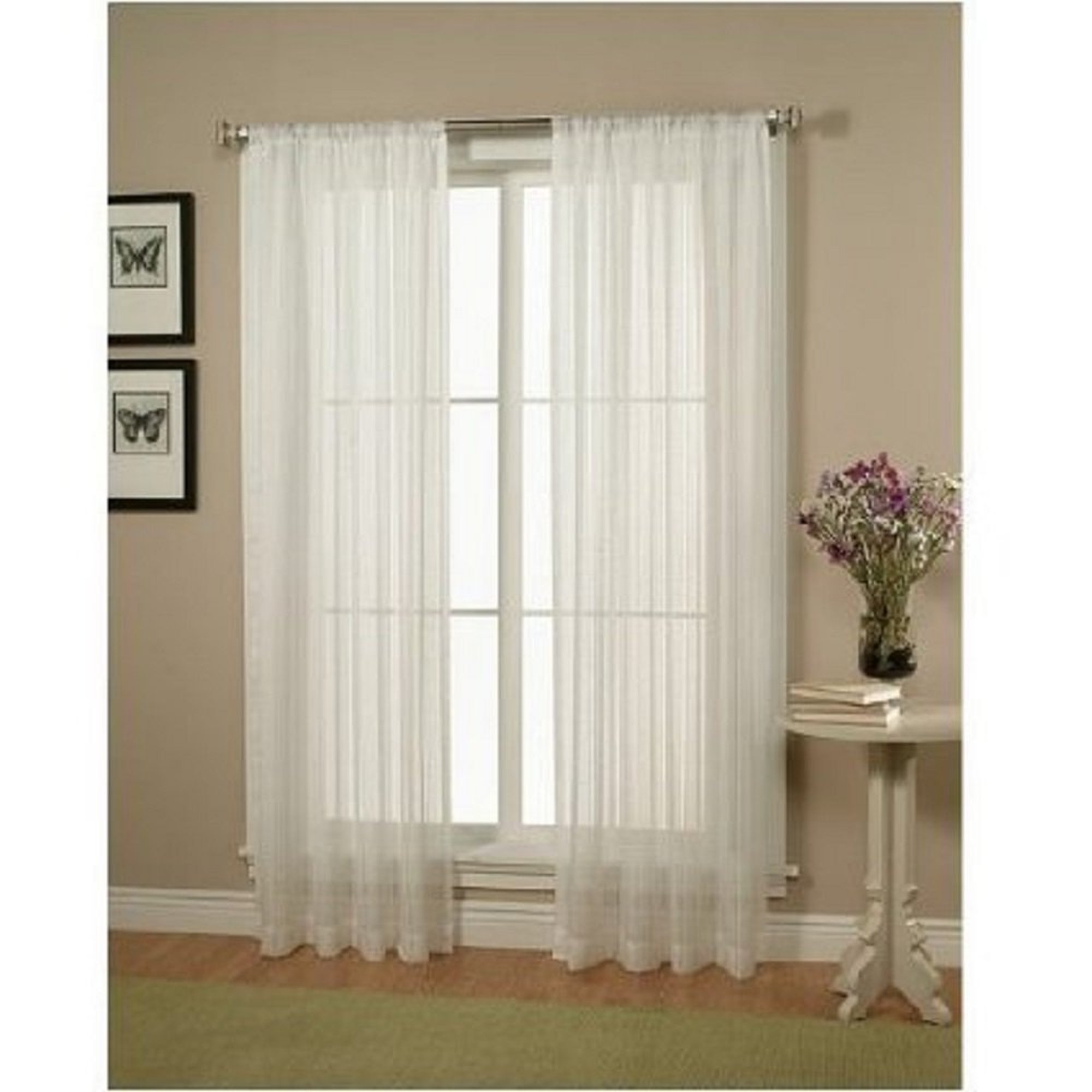 Current Details About Elegant Comfort 2 Piece Solid White Sheer Window Curtains/drape/panels/treatment In Elegant Comfort Window Sheer Curtain Panel Pairs (View 7 of 20)