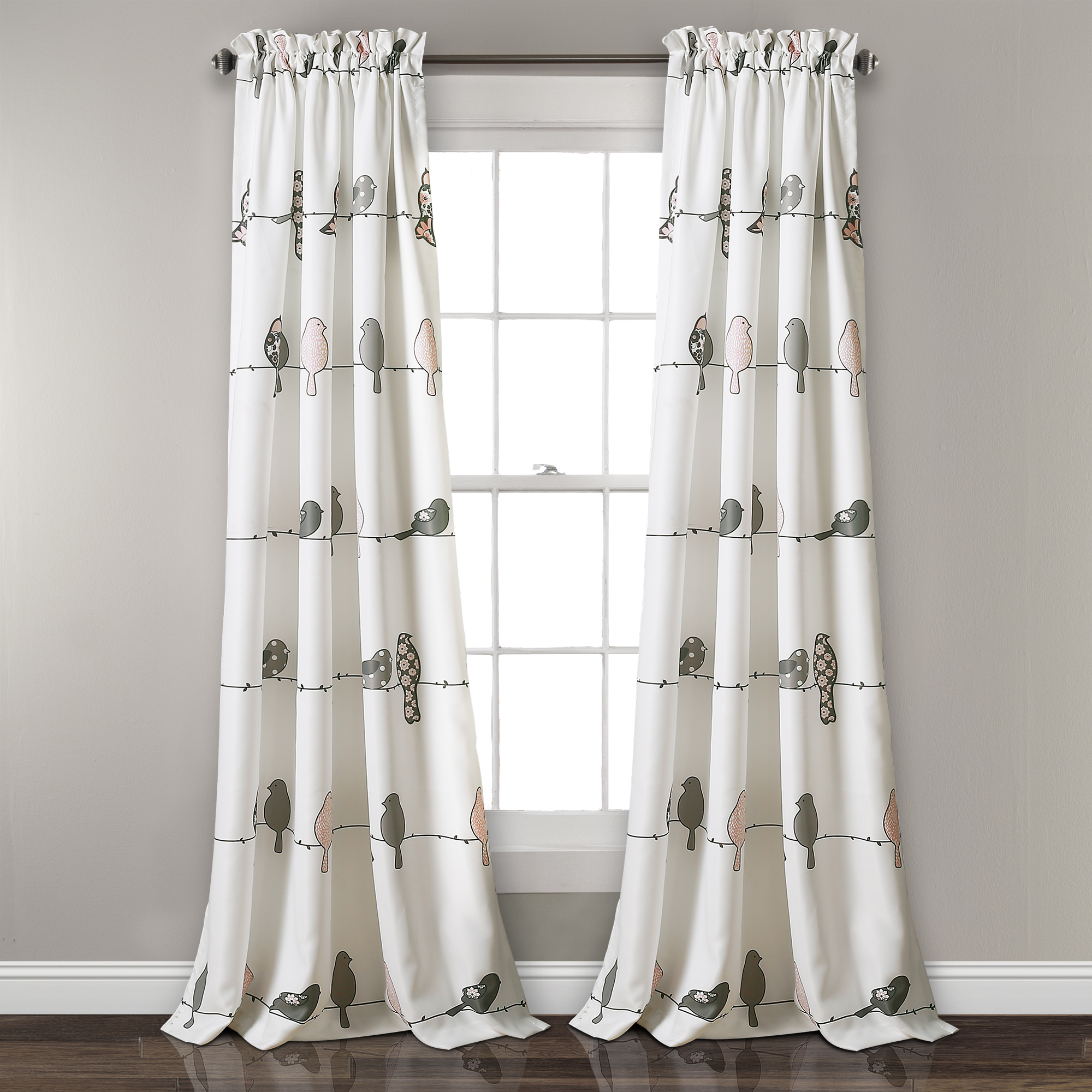 Current Details About Rowley Birds Room Darkening Window Curtain Panels Blush/gray Set 52x84+2 With Rowley Birds Room Darkening Curtain Panel Pairs (View 13 of 20)