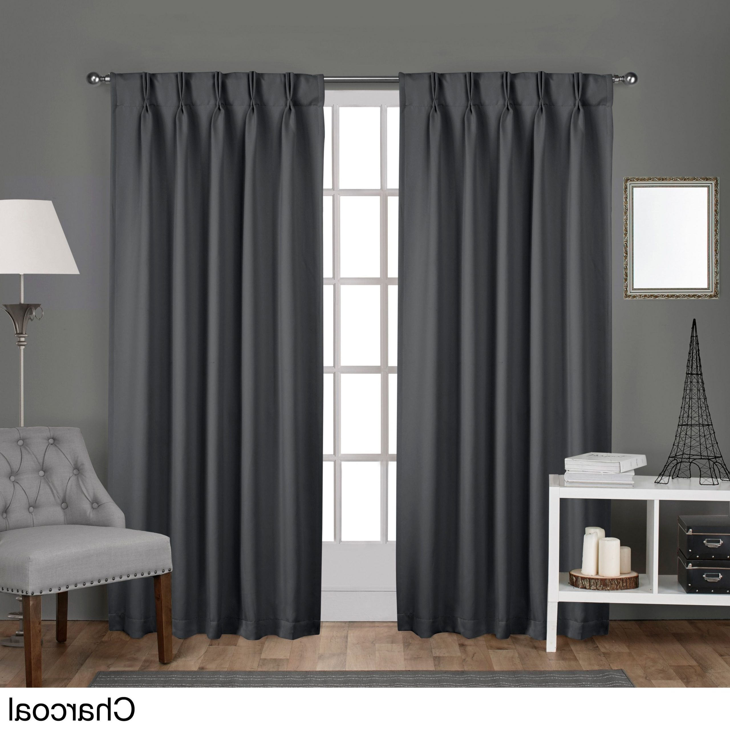 Current Double Pinch Pleat Top Curtain Panel Pairs Within Ati Home Sateen Woven Blackout Curtain Panel Pair With Pinch (View 6 of 20)