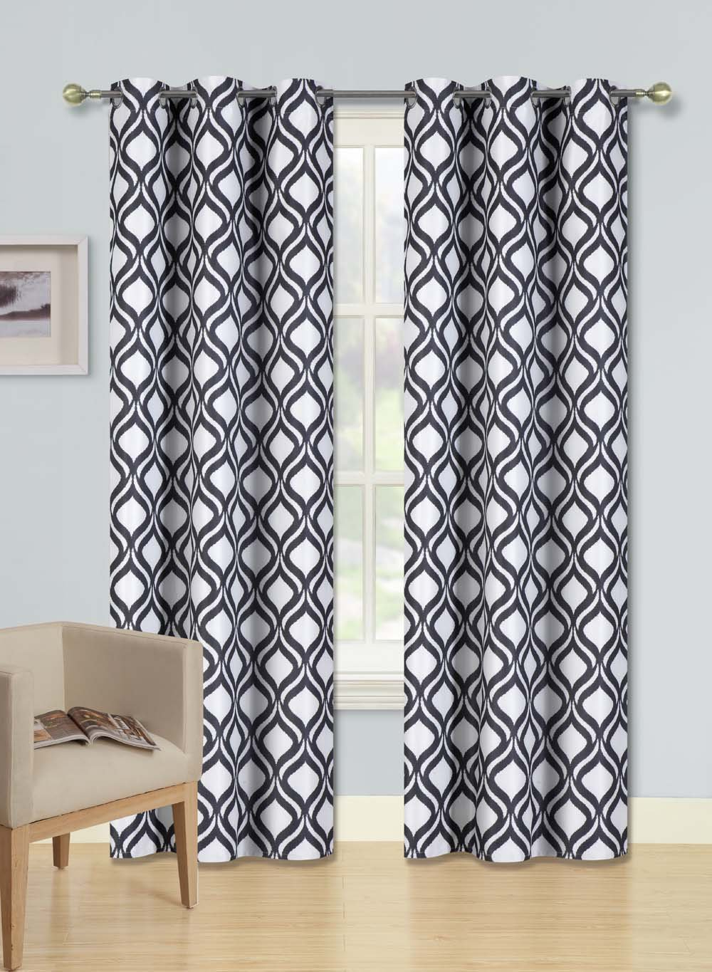 Current Edward Moroccan Pattern Room Darkening Curtain Panel Pairs Inside Black & White Curtains Seasonal Sale – Recipes With More (View 18 of 20)