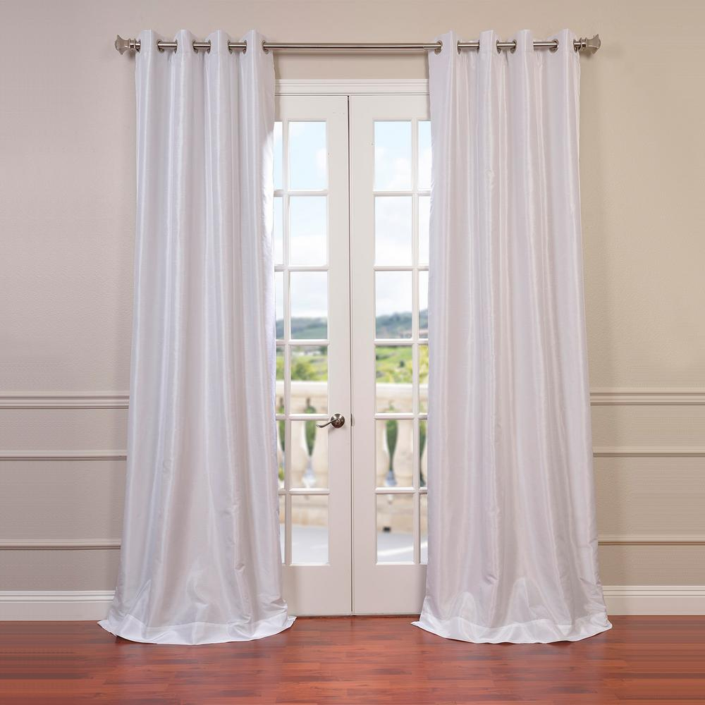 Current Exclusive Fabrics & Furnishings Ice White Grommet Blackout Vintage Textured  Faux Dupioni Silk Curtain – 50 In. W X 108 In (View 4 of 20)