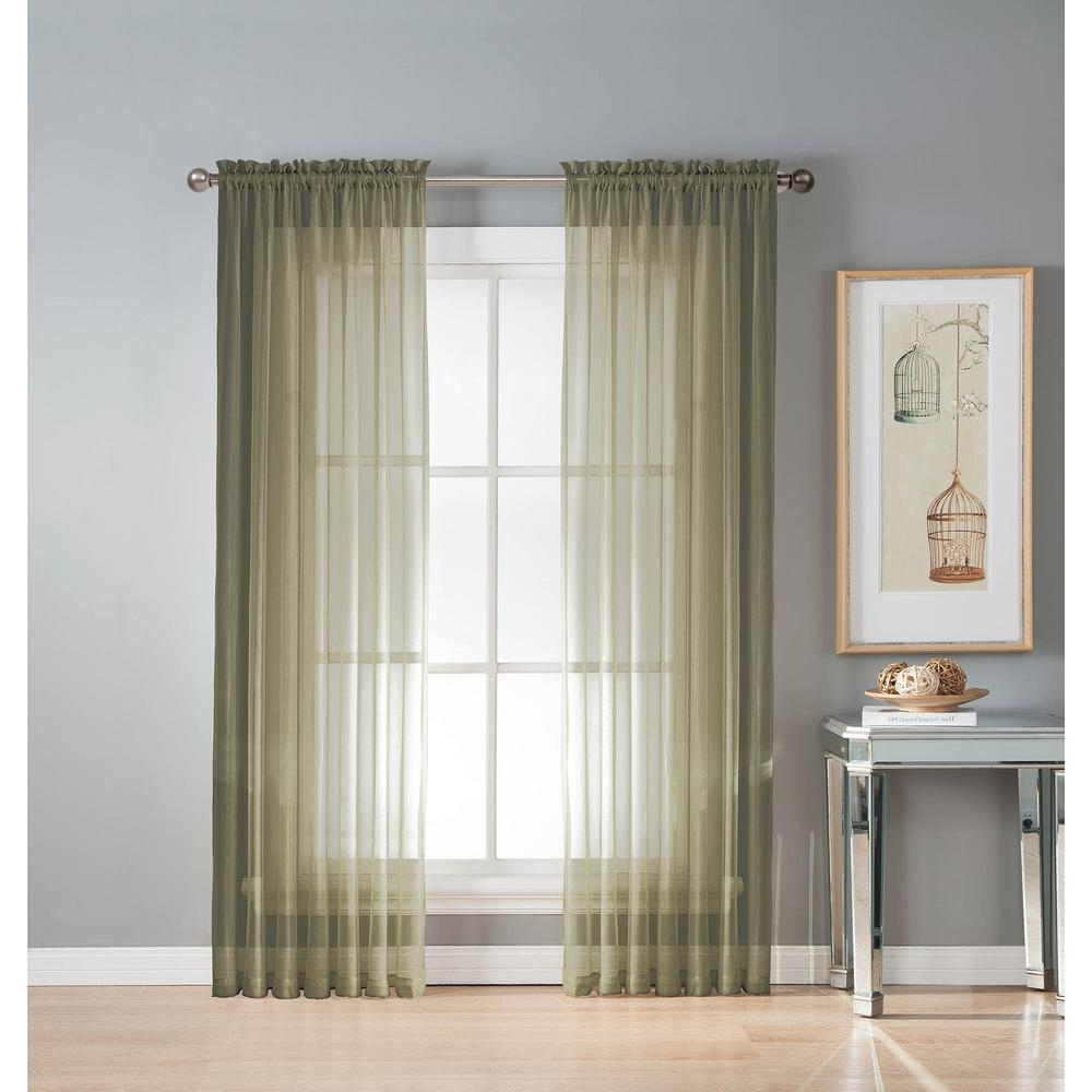 Current Extra Wide White Voile Sheer Curtain Panels Throughout Window Elements Sheer Diamond Sheer Olive Rod Pocket Extra Wide Curtain Panel, 56 In. W X 95 In (View 10 of 20)