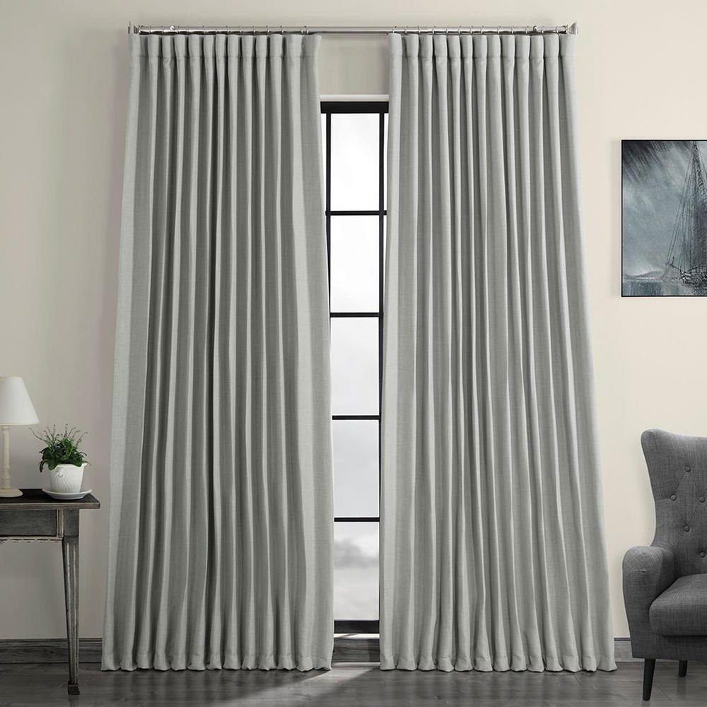 Current Faux Linen Blackout Curtains Inside Exclusive Fabrics & Furnishings Heather Gray Faux Linen Extra Wide Blackout Curtain – 100 In. W X 84 In (View 9 of 20)