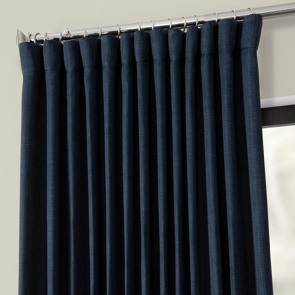 Current Faux Linen Extra Wide Blackout Curtains Regarding Exclusive Fabrics & Furnishings Indigo Blue Faux Linen Extra Wide Blackout  Curtain – 100 In. W X 84 In (View 3 of 21)