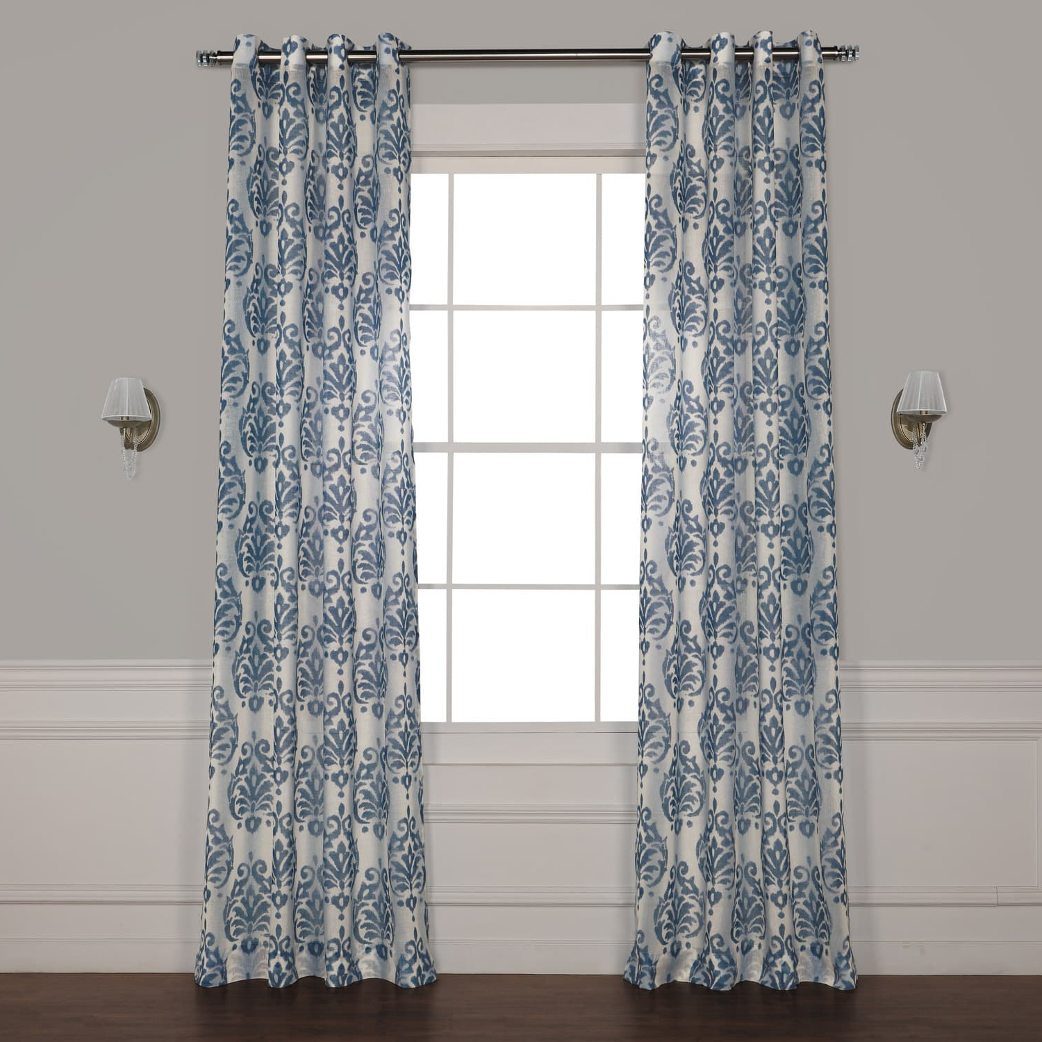 Current Fresco Blue Grommet Printed Sheer Curtain With Regard To Signature White Double Layer Sheer Curtain Panels (View 15 of 20)