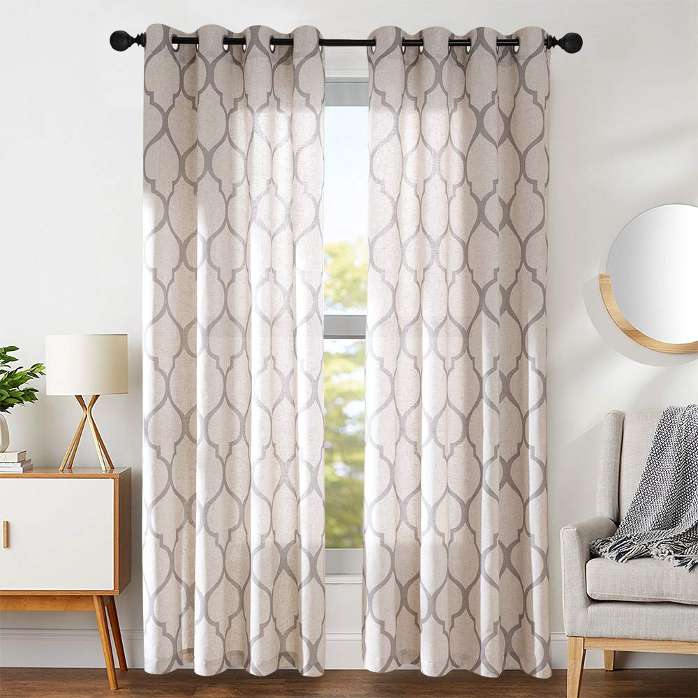Current Grey Printed Curtain Panels Pertaining To Moroccan Tile Linen Textured Curtains Printed Curtain Panels Bedroom Living Room Lattice Window Treatment 2 Panel Drapes 84 Inches Long Grey (View 7 of 20)